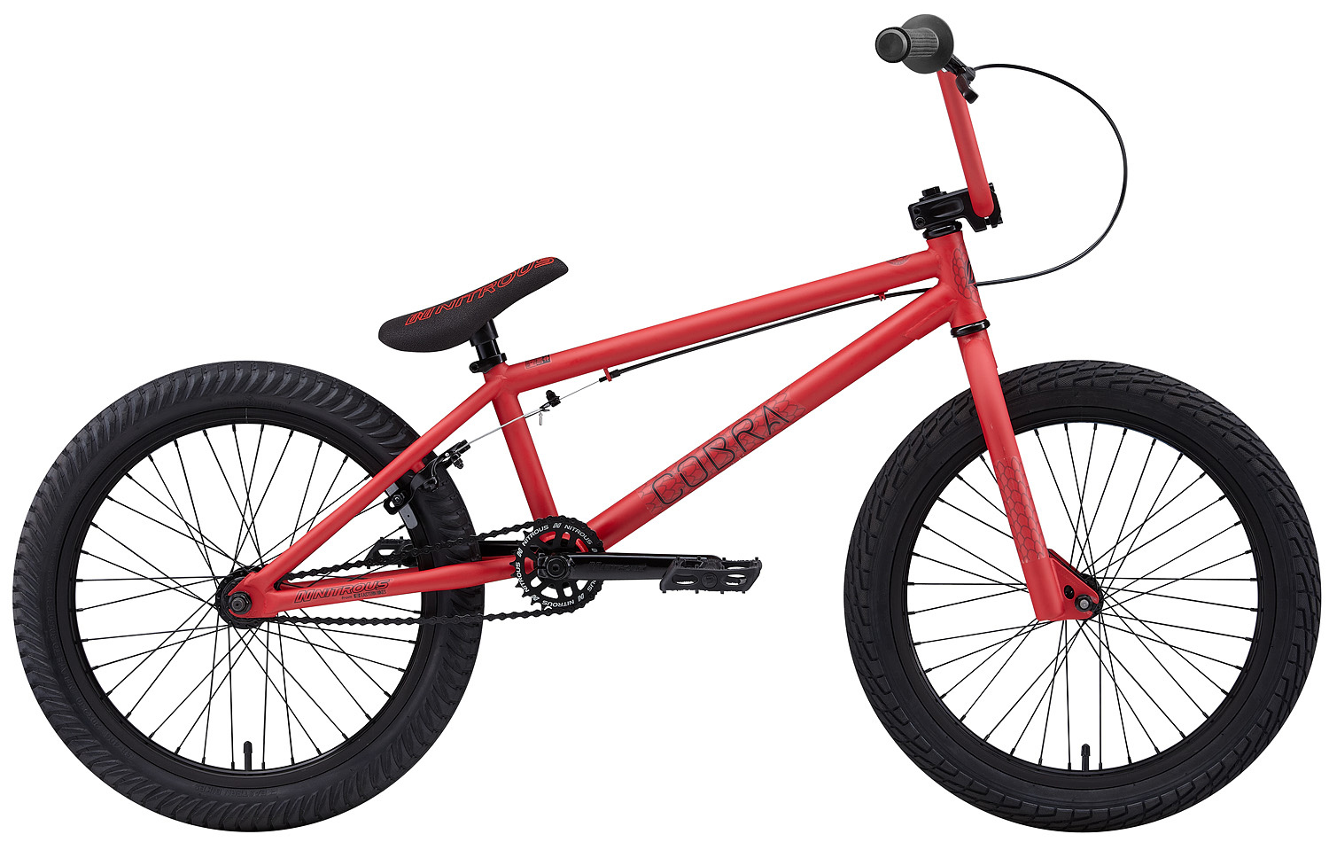 "BMX Key Features of the Nitrous Cobra BMX Bike: WEIGHT // 26.8 lbs. COLORS // Black/Black, Red/Black, Green/Black TOP TUBE SIZE // 20.25"" GEARING // 25/9 Micro-drive FRAME // Cobra Hi-Tensile Strength 1020 Steel Frame w/ lifetime upgrade policy** FORK // Cobra Hi-Tensile Strength 1020 Steel BARS // 8.0""x 28.5"" , 1? Upsweep, 12? Backsweep HEADSET // 1-1/8"" Aheadset BB // American Loose Ball Bearing PEDALS // Eastern Crown pedals GRIPS // Eastern Wiz Signature Grip STEM // Forged Alloy Front Load SPROCKET // 25T Steel w/ Nitrous Graphic CRANKS // Nitrous Shifter 175mm tubular chromoly heat-treated 3pc. cranks w/ 8 spline spindle SEAT // Nitrous Logo 1-Piece Seat/Alloy Post Combo TIRES // LHR Multi-Surface , 20"" x 2.20"" FRONT HUB // 36H 3/8"" Loose Ball Bearing REAR HUB // KT/Quando semi-sealed 36H cassette hub. 1-piece 9-tooth chromoly driver, hollow 14mm chromoly axle RIMS // Alloy 36 Hole REAR BRAKES // Forged Alloy U-Brake / Straight Cable / Forged Alloy lever, Designed for U-Brakes FREEWHEEL // 9T 1-Piece Chromoly Driver CHAIN // KMC Z510 SEAT CLAMP // Nitrous Locker Forged Alloy Clamp - $269.95"