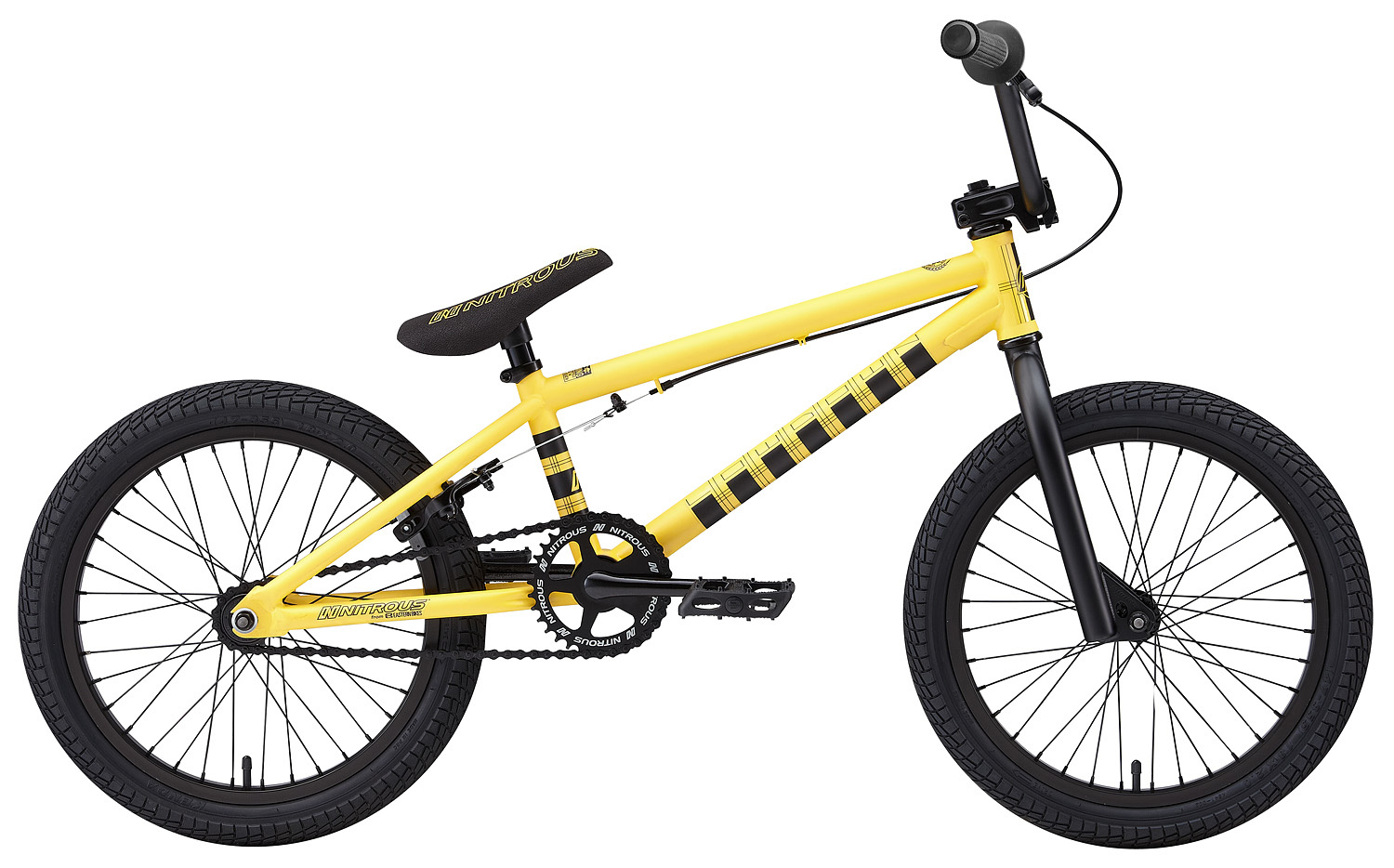 "BMX Key Features of the Nitrous Lowdown 120 BMX Bike: WEIGHT // 26.5 LBS (120) (24.0 lbs 118/116) COLORS // Black/Yellow, Yellow/Black TOP TUBE SIZE // 19.75"" GEARING // 25/9 Micro-drive (120) 33/14 (118) 33/16 (116) FRAME // Lowdown Hi-Tensile Strength 1020 Steel Frame w/ lifetime upgrade policy** FORK // Lowdown Hi-Tensile Strength 1020 Steel BARS // 7.75""x 27.5"", 1? Upsweep, 12? Backsweep (Hi-Ten Bars on 118 & 116) HEADSET // 1-1/8"" Aheadset BB // American Loose Ball Bearing PEDALS // Wellgo Plastic Pedals GRIPS // Eastern Wiz Signature Grip (pg. 27) (Krayton rubber on 118 & 116) STEM // Forged Alloy Front Load SPROCKET // 25T(120), 33T(118 & 116) Steel w/ Nitrous Graphic CRANKS // Forged & Heat-Treated 1-Piece Cro-Mo Cranks (light & strong) SEAT // Nitrous Logo 1-Piece Seat/Alloy Post Combo TIRES // LHR Multi-Surface , 20"" x 2.20""(120) Kenda, 18"" x 2.0"" (118) Kenda, 16"" x 2.25"" (116) REAR HUB // 36H, Cassette Hub, 9-tooth driver, 14mm Axle Studs (118 - 36H, 3/8"" Loose Ball Bearing) (116 - 36H, 3/8"" Loose Ball Bearing 16T coaster brake hub) FRONT HUB // 36H, 3/8"" Loose Ball Bearing RIMS // Alloy 36 Hole REAR BRAKES // Forged Alloy U-Brake / Straight Cable / Forged Alloy lever, Designed for U-Brakes (Coaster Brake on 116) FREEWHEEL // 9-Tooth Driver (120) Lida 14T(118) CHAIN // KMC Z510, KMC Z410 (116) SEAT CLAMP // Nitrous Locker Forged Alloy Clamp - $249.95"