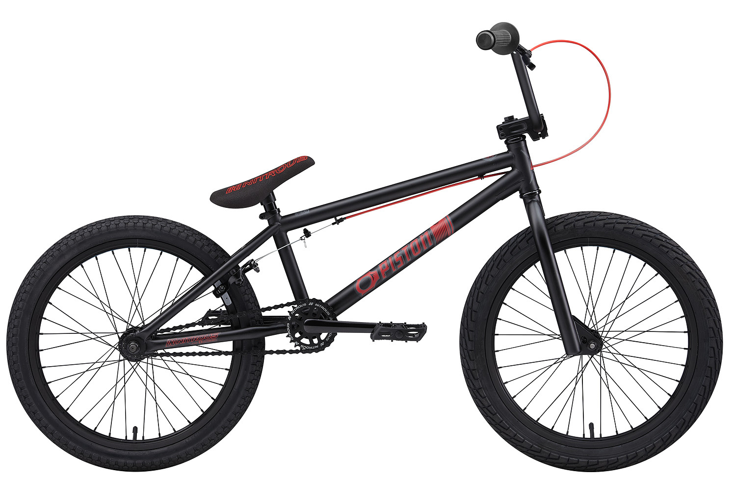 "BMX Key Features of the Nitrous Piston BMX Bike: WEIGHT // 25.8 lbs. COLORS // Black/Red, Hot Blue/Black TOP TUBE SIZE // 19.75"" GEARING // 25/9 Micro-drive FRAME // Piston Hi-Tensile Strength 1020 Steel Frame w/ lifetime upgrade policy** FORK // Piston Hi-Tensile Strength 1020 Steel BARS // 7.75""x 27.5"", 1? Upsweep, 12? Backsweep HEADSET // 1-1/8"" Aheadset BB // American Loose Ball Bearing PEDALS // Wellgo Plastic Pedals GRIPS // Eastern Wiz Signature Grip (pg. 27) STEM // Forged Alloy Front Load SPROCKET // 25T Steel w/ Nitrous Graphic CRANKS // Forged & Heat-Treated 1-Piece Cro-Mo Cranks (light & strong) SEAT // Nitrous Logo 1-Piece Seat/Alloy Post Combo TIRES // LHR Multi-Surface , 20"" x 2.20"" FRONT HUB // 36H 3/8"" Loose Ball Bearing REAR HUB // KT/Quando semi-sealed 36H cassette hub. 1-piece 9-tooth chromoly driver, hollow 14mm chromoly axle RIMS // Alloy 36 Hole REAR BRAKES // Forged Alloy U-Brake / Straight Cable / Forged Alloy lever, Designed for U-Brakes FREEWHEEL // 9T 1-Piece Chromoly Driver CHAIN // KMC Z510 SEAT CLAMP // Nitrous Locker Forged Alloy Clamp - $259.95"