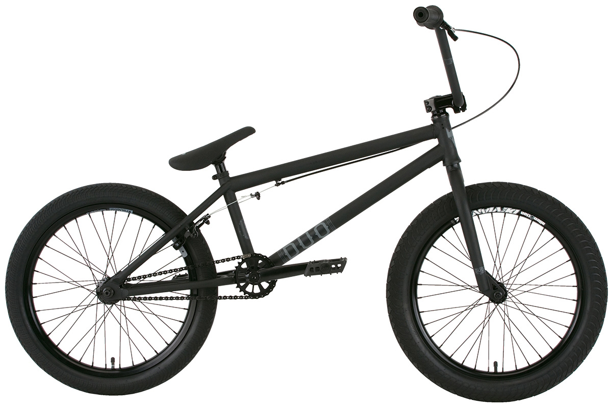 "BMX Key Features of the Premium Duo 20.5in BMX Bike: 5 tube crmo frame (front triangle) with butted down tube, integrated head tube, Mid BB shell, integrated seat clamp and removable brake and cable mounts KMC K710SL super light chain Premium padded Pivotal seat with Pivotal post 25/9 gearing with alloy sprocket Odyssey Twisted plastic pedals Premium CK tires 2.4"" front and 2.0"" rear Fully sealed wheels with Samsara rear and Deviant front double-wall rims and alloy nipples Three-piece chromoly 175mm 8-spline cranks with sealed Mid BB 100% crmo bars, 8.25"" (on 20.5"") or 8.5"" (on 21"") with Premium alloy front load stem 100% crmo fork with tapered legs Alloy 990 brake WEIGHT 25lbs SIZING 20.5"", 21"" FRAME 5 tubes crmo w/welded seat clamp and removable brake mounts - 20.5"" or 21"" TT FORK 1 1/8"" Full Crmo threadless w/tapered legs CRANKS 3 pc. tubular Crmo 175mm w/sealed MID BB PEDALS Odyssey plastic pedals TIRES Premium 20x2.40 F / 20x2.0 R WHEELS Alienation 36H Deviant DW Frt/Samsara DW Rear ROTOR N/A Straight Cable GRIPS Premium Counterfeit BARS Hi-ten - 8.25"" rise w/20.5"" frame 8.5"" rise w/21"" frame SEAT Premium slim padded Pivotal seat with Pivotal post PEGS N/A. - $384.95"