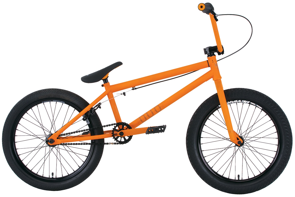 "BMX Key Features of the Premium Duo 21In BMX Bike: 5 tube crmo frame (front triangle) with butted down tube, integrated head tube, Mid BB shell, integrated seat clamp and removable brake and cable mounts KMC K710SL super light chain Premium padded Pivotal seat with Pivotal post 25/9 gearing with alloy sprocket Odyssey Twisted plastic pedals Premium CK tires 2.4"" front and 2.0"" rear Fully sealed wheels with Samsara rear and Deviant front double-wall rims and alloy nipples Three-piece chromoly 175mm 8-spline cranks with sealed Mid BB 100% crmo bars, 8.25"" (on 20.5"") or 8.5"" (on 21"") with Premium alloy front load stem 100% crmo fork with tapered legs Alloy 990 brake WEIGHT 25lbs SIZING 20.5"", 21"" FRAME 5 tubes crmo w/welded seat clamp and removable brake mounts - 20.5"" or 21"" TT FORK 1 1/8"" Full Crmo threadless w/tapered legs CRANKS 3 pc. tubular Crmo 175mm w/sealed MID BB PEDALS Odyssey plastic pedals TIRES Premium 20x2.40 F / 20x2.0 R WHEELS Alienation 36H Deviant DW Frt/Samsara DW Rear ROTOR N/A Straight Cable GRIPS Premium Counterfeit BARS Hi-ten - 8.25"" rise w/20.5"" frame 8.5"" rise w/21"" frame SEAT Premium slim padded Pivotal seat with Pivotal post PEGS N/A. - $384.95"