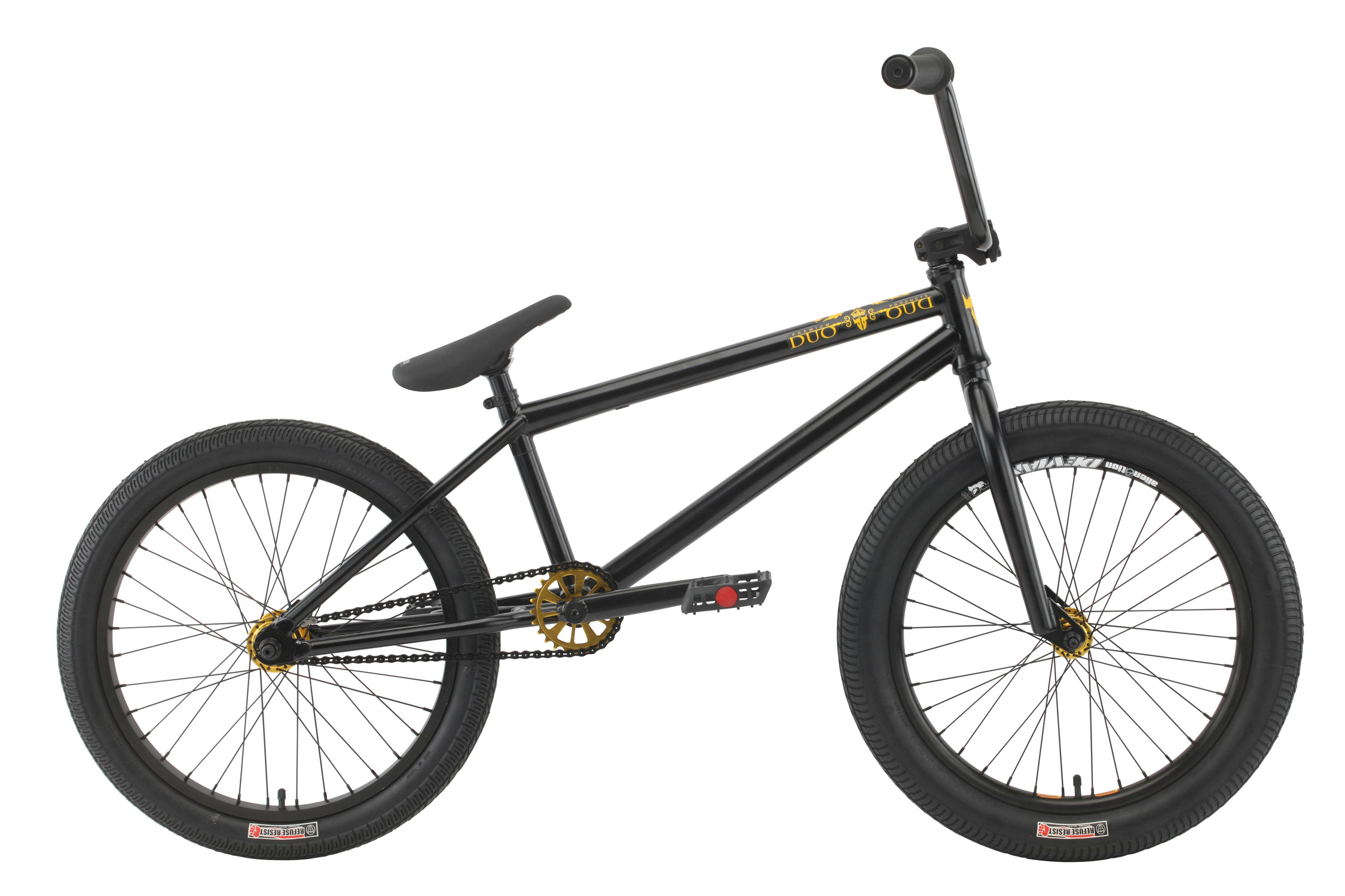 "BMX Key Features of the Premium Duo BMX Bike: Premium five-tubes chromoly frame with Mid BB and internal head tube Full chromoly forks with tapered legs Full chromoly bars 8"" (on 20.5"") or 8.25"" (on 21"") with alloy front load stem Three-piece chromoly 175mm 8-spline cranks with sealed Mid BB Premium padded Pivotal seat with forged pivotal post Premium Street tires; 2.25"" front, 2.0"" rear Odyssey Twisted plastic pedals WEIGHT 24.5lbs SIZING 20.5"", 21"" FRAME 5 tubes crmo w/welded seat clamp and removable brake mounts - 20.5"" or 21"" TT FORK 1 1/8"" Full Crmo- Threadless w/tapered legs CRANKS 3 pc. tubular Crmo 175mm w/sealed MID BB PEDALS Odyssey plastic pedals TIRES Premium Street Tires, 20x2.25 F / 20x2.0 R WHEELS Alienation 36h Deviant dw front/36h Black Sheep dw rear, 36H alloy sealed 3/8"" Frt, 36H Alloy sealed cassette rear 14mm w/9T driver ROTOR N/A Straight Cable GRIPS Premium Counterfeit BARS Full Crmo - 8"" rise w/20.5"" frame, 8.25"" rise w/21"" frame SEAT Premium slim padded Pivotal seat with Pivotal post PEGS N/A - $413.95"
