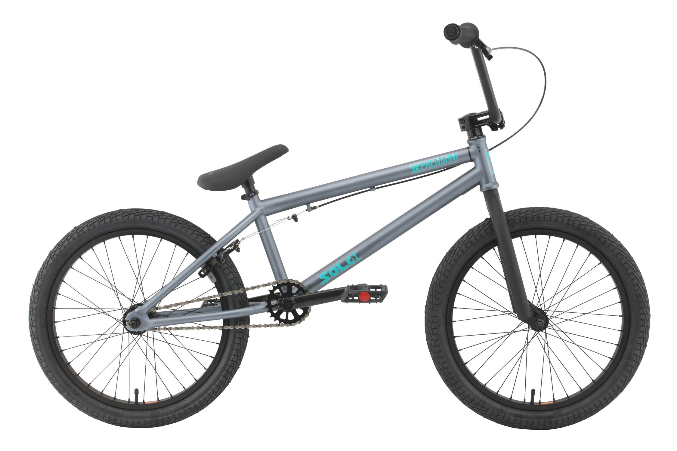 "BMX Key Features of the Premium Solo BMX Bike: Premium frame with chromoly down tube, Mid BB shell, internal head tube Odyssey Twisted plastic pedals 8"" rise bar (on 20"" & 20.5"") or 8.25"" (on 21"") with alloy front load stem Three-piece chromoly175mm 8-spline cranks with sealed Mid BB 25/9 gearing Premium Slim padded seat w/ built-in alloy post WEIGHT SIZING 20"", 20.5"", 21"" FRAME Crmo down tube w/ Mid BB and Internal HT - 20"", 20.5"" or 21"" TT FORK 1 1/8"" Crmo steer tube - Threadless CRANKS 3 pc. tubular Crmo 175mm w/sealed MID BB PEDALS Odyssey plastic pedals TIRES Kenda Kontact 20x2.25 F / 20x1.95 R WHEELS 36h Alienation PBR alloy rims, 36h steel shell 3/8"" Frt / Alloy shell loose ball cassette 14mm Rear hubs ROTOR N/A Straight Cable GRIPS Premium Counterfeit BARS Hi-ten - 8"" Rise w/20"" & 20.5"" frame, 8.25"" rise w/21"" frame SEAT Premium slim padded one piece seat with built in post PEGS N/A - $241.95"