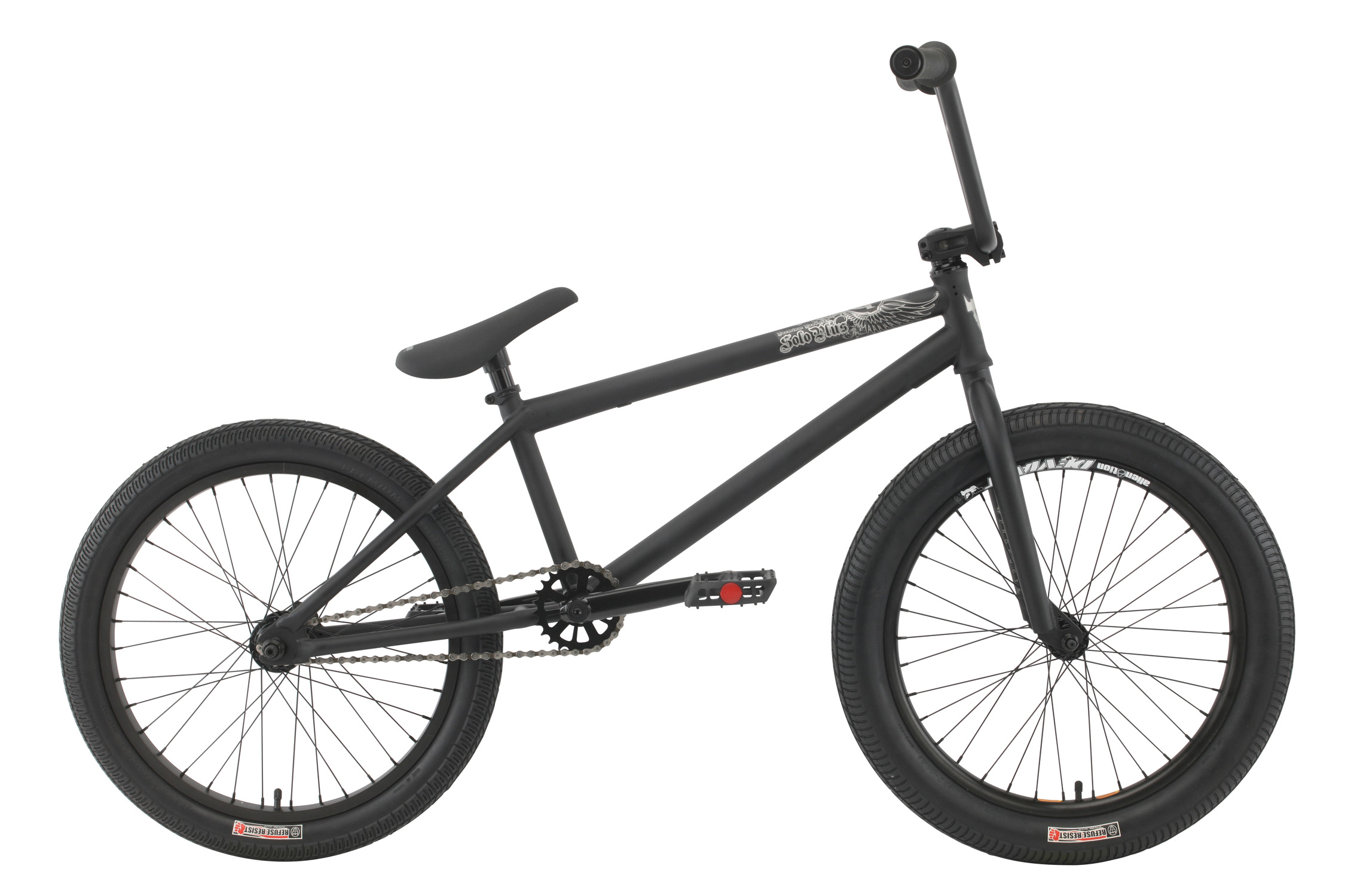 "BMX Key Features of the Premium Solo Plus BMX Bike: Premium frame with a chromoly down tube, Mid BB shell, internal head tube Odyssey Twisted plastic pedals 8"" rise bar (on 20.5"") or 8.25"" (on 21"") with alloy front load stem Three-piece 175mm chromoly 8-spline cranks with sealed Mid BB 25/9 gearing Alloy sealed bearing cassette hub with 9T driver and 14mm axle Premium Street tires; 2.25"" front, 2.0"" rear Premium Slim padded seat w/ built-in alloy post WEIGHT 25.25lbs FRAME Crmo down tube w/removable brake mounts - 20.5"" or 21"" TT FORK 1 1/8"" Crmo Threadless steer tube - w/Hi-ten tapered legs CRANKS 3 pc. tubular Crmo 175mm w/sealed MID BB PEDALS Odyssey plastic pedals TIRES Premium Street Tires, 20x2.25 F / 20x2.0 R WHEELS Alienation 36h Deviant dw front/36h Black Sheep dw rear, 36H alloy sealed 3/8"" Frt, 36H Alloy sealed cassette rear 14mm w/9T driver ROTOR N/A Straight Cable GRIPS Premium Counterfeit BARS Hi-ten - 8"" rise w/20.5"" frame, 8.25"" rise w/21"" frame SEAT Premium slim padded one piece seat with built in post PEGS N/A - $429.95"