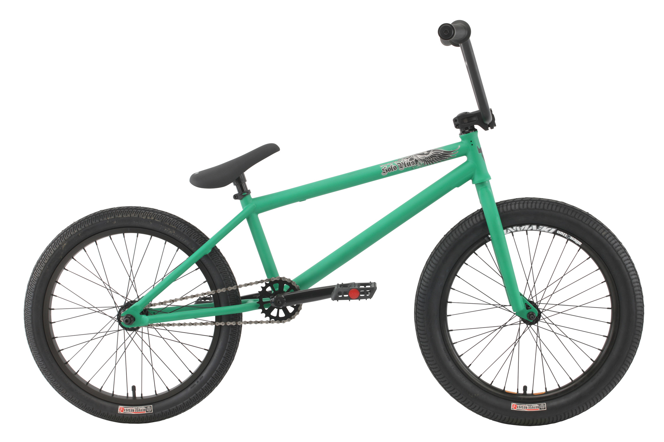 "BMX Key Features of the Premium Solo Plus BMX Bike: Premium frame with a chromoly down tube, Mid BB shell, internal head tube Odyssey Twisted plastic pedals 8"" rise bar (on 20.5"") or 8.25"" (on 21"") with alloy front load stem Three-piece 175mm chromoly 8-spline cranks with sealed Mid BB 25/9 gearing Alloy sealed bearing cassette hub with 9T driver and 14mm axle Premium Street tires; 2.25"" front, 2.0"" rear Premium Slim padded seat w/ built-in alloy post WEIGHT 25.25lbs FRAME Crmo down tube w/removable brake mounts - 20.5"" or 21"" TT FORK 1 1/8"" Crmo Threadless steer tube - w/Hi-ten tapered legs CRANKS 3 pc. tubular Crmo 175mm w/sealed MID BB PEDALS Odyssey plastic pedals TIRES Premium Street Tires, 20x2.25 F / 20x2.0 R WHEELS Alienation 36h Deviant dw front/36h Black Sheep dw rear, 36H alloy sealed 3/8"" Frt, 36H Alloy sealed cassette rear 14mm w/9T driver ROTOR N/A Straight Cable GRIPS Premium Counterfeit BARS Hi-ten - 8"" rise w/20.5"" frame, 8.25"" rise w/21"" frame SEAT Premium slim padded one piece seat with built in post PEGS N/A - $397.95"