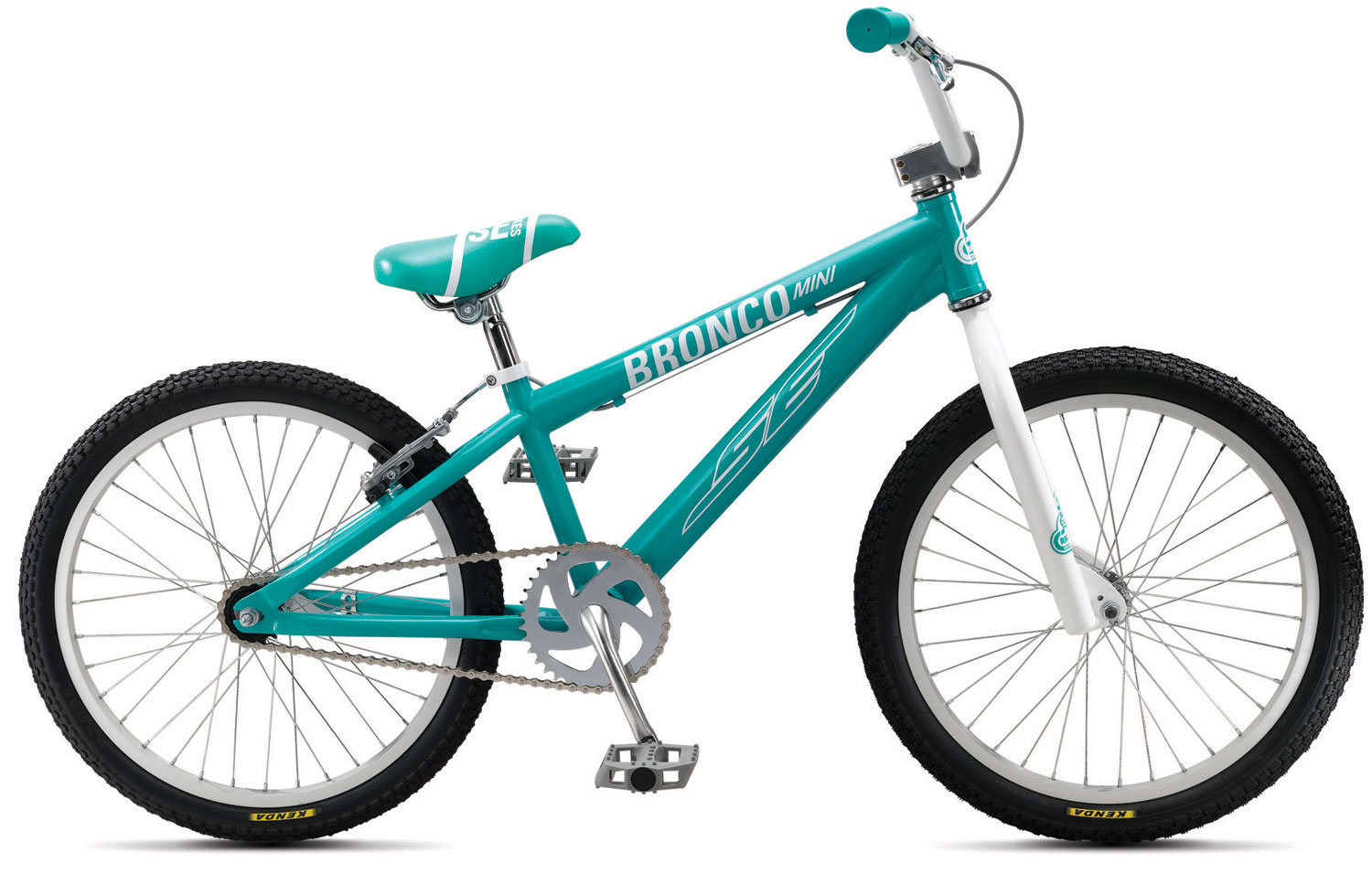 "BMX Key Features of the SE Bronco Mini Race Bike: FRAME SE Racing Hi-ten FORK SE Racing 1-1/8"" Threadless HEADSET Tange 1-1/8"" Threadless HANDLEBARS SE Wing Bar, 20.5"" x 6"" STEM SE Racing Front Load 1-1/8 Alloy GRIPS Mini Grip BRAKE LEVER Pro Max 2 Finger BRAKE(S) Rush V-Brake SEAT SE Racing w/ Custom Imprinted Cover SEAT POST SE Racing Straight Post 25.4 CRANKSET 1-pc Steel, Amrican BB, 140mm, 36T CHAIN KMC Z410 PEDAL FPD Composite Resin RIM Alex C1000, 36H Aluminum w/ 14 Ga. Spokes FRONT HUB SE Racing 36H REAR HUB SE Racing 36H, Coaster Brake w/ 16T TIRES Kenda K-Rad, 1.95 F, 1.75 R COLORS Midnight Black, Cool White, Aqua Blue, Awesome Blue WEIGHT 26.0 lbs - $179.95"