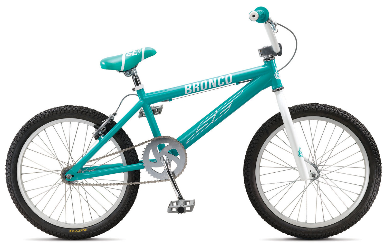 "BMX Key Features of the SE Bronco BMX Bike: FRAME: SE Racing Hi-ten FORK: SE Racing 1-1/8"" Threadless HEADSET: Tange 1-1/8"" Threadless HANDLEBARS: SE Wing Bar, 23"" x 6"" STEM: SE Racing Front Load 1-1/8 Alloy GRIPS: SE Racing Wing Grip BRAKE LEVER: Pro Max 2 Finger BRAKE(S): C-Star V-Brake SEAT: SE Racing w/ Custom Imprinted Cover SEAT POST: SE Racing Straight Post 25.4 CRANKSET: 1-pc Steel, American BB, 170mm, 40T CHAIN: KMC Z410 PEDAL: FPD Composite Resin RIM: Alex C1000, 36H Aluminum w/ 14 Ga. Spokes FRONT HUB: SE Racing 36H REAR HUB: SE Racing 36H w/ 16T Freewheel TIRES: 2.125 F, 1.75 R EXTRAS: SE Plastic Grip End Caps - $149.95"