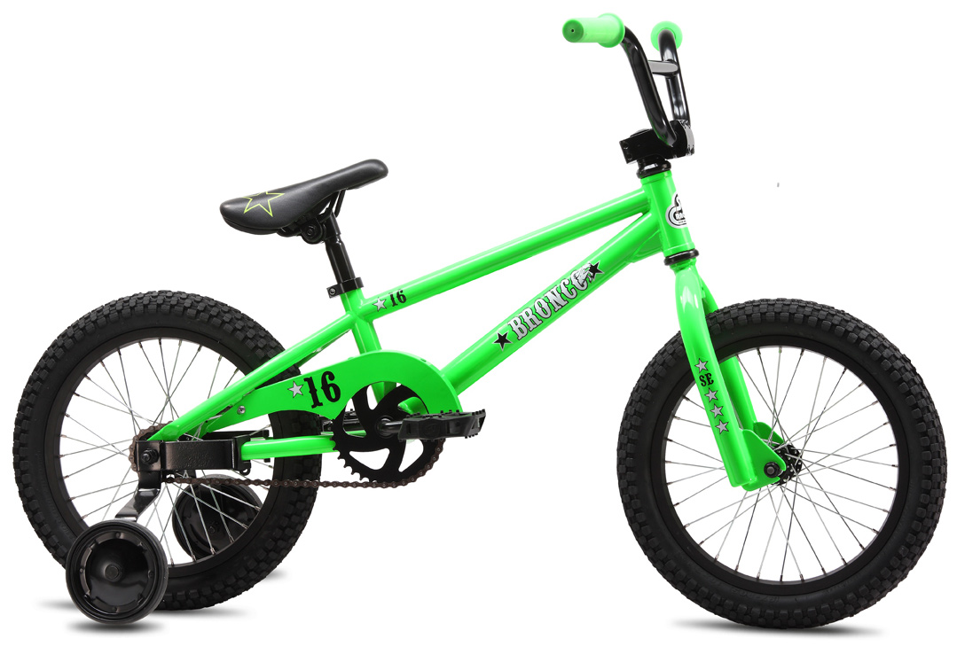 "BMX The smallest SE bike available, the Bronco 16 comes equipped with training wheels & a coaster brake for the little tyke just getting into the sport. The neon green colorway will be the envy of all play dates.Key Features of the SE Bronco BMX Bike: Frame:SE Racing Hi-ten Fork:SE Racing 1 1/8"" Threadless Crankset:1-pc Steel, American BB, 102mm, 36T Pedals:Composite Resin Chain:KMC Z410A Wheelset:SE Racing 32H Hubs w/ Alex C1000 rims, 16T Coaster Brake Tires:Kenda K-Rad, 2.125"" F & R Brakes:Coaster Brake Lever:N/A Headset:Tange 1-1/8"" Threadless Handlebar:SE Wing Bar, 21"" x 5.5"" Stem:SE Racing Front-Load 1-1/8"" Alloy Grips:Mini Grip Seat:SE Racing w/ Custom-Imprinted Cover Seat Post:SE Straight Post, 25.4mm Extras:Training Wheels, Metal Chainguard Weight, lbs/kg:22.10lbs / 10.02kgs Top Tube, Actual 16.4"" Seat Tube, Center To Top 7.4"" Seat Tube Angle 70 degree Head Tube Angle 72 degree Chainstay 11.9"" Wheelbase 30.5"" Bottom Bracket Height 9.8"" Seat Post Diameter 25.4mm Standover 18.7"" Rider Size Under 5' (Under 152cm) - $164.95"