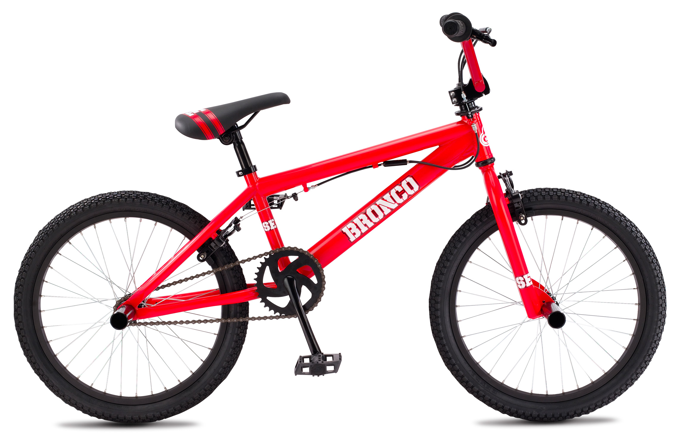"BMX If you are the type of person who enjoys biking and wants to have a bike that will suit all of your needs, then the SE Freestyle Bronco BMX Bike is the right bike for you. This bike can help give you a peaceful and enjoyable ride no matter where you are going. It is made with a Hi-ten frame, threadless fork, and a custom imprinted covered seat. The Freestyle Bronco bike is sure to give you an amazing ride all while giving you a sporty and stylish look.Key Features of the SE Freestyle Bronco Adult BMX Bike Red 20"": Frame : SE Hi-ten Fork : SE 1-1/8"" Threadless Crankset : 1-pc Steel, American BB, 165mm, 36T Pedals : Composite Resin Chain : KMC Z410 Wheelset: SE 36H Hubs, 3/8"" F & 14mm R Axle with Alex C1000 Rims, 14T Freewheel Tires : Kenda K-Rad, 2.0"" F & R Brakes: Rush U-Brake F&R Brake lever: Rush Alloy 2-Finger Lever F&R Headset : Tange 1 1/8"" Threadless Handlebar: SE 4-pc Bar, 23 x 5.5"" Stem : SE Front Load 1-1/8"" Alloy Grips : SE Bubble Jump Grip Seat : SE Racing w/ Custom Imprinted Cover Seat Post : SE Racing Straight Post, 25.4 Extras: Rotor, 4 Pegs Weight- kg/lbs: 13.50kg / 29.90lb - $195.95"