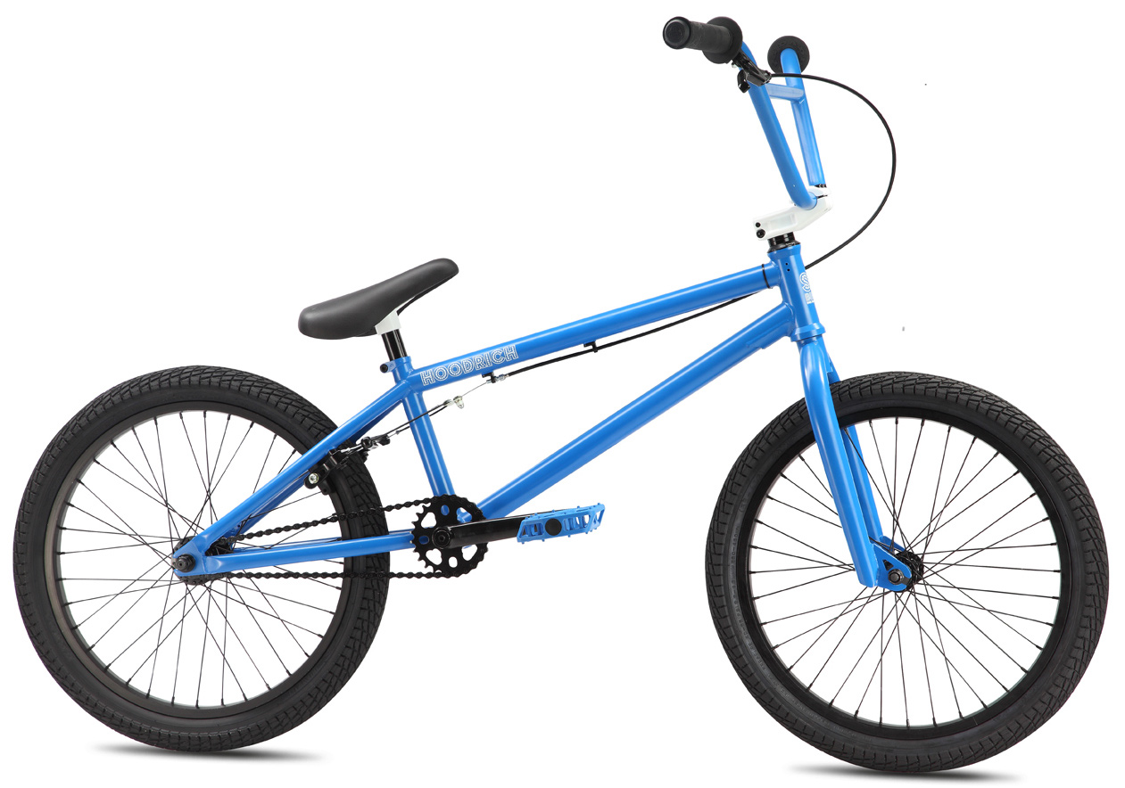 "BMX The Hoodrich is built with a Cr-Mo frame, fork and bars and features an integrated headset, externally-machined mid BB and removable brake mounts. New 2013 is a recessed top cap stem, 8-spline closed-end cranks, and 2.25"" Kenda Kontact tires on the front and rear - the best Hoodrich yet.Key Features of the SE Hoodrich BMX Bike: Frame: 2013 Frame Design, 100% Cr-Mo, Integrated Head Tube, Integrated Seat Clamp, Mid-BB, Removable Cable Guides and Brake Mounts Fork: Full Cr-Mo, Tapered Legs, 3/8"" Dropouts with 32mm Offset Crankset: 3-pc Cr-Mo, 175mm, Closed-end Invisibolt, Mid-Sealed Bearing, 25T Bubble Sprocket Pedals: SE Nylon Fiber Chain: KMC Z410A Wheelset: SE Alloy 36H 3/8"" F and 14mm Semi-Sealed R Hubs with Double-wall Rims, 9T Driver Tires: Kenda Kontact 20 x 2.25"" F and R Brakes: Tektro 319AC, 2-Finger Alloy Brake Lever: Tektro 319AC 2-Finger Alloy Headset: Tange 1-1/8"" Integrated Headset Handlebar: Cr-Mo Powerwing Bar, 28.5"" x 8.25"" Stem: SE Top-Load Alloy, Lightweight External Cutouts, Hidden Top Cap Grips: Big Daddy Jackhammer Grip with Rubber SE End Plugs Seat: Lightweight SE Seat/ Post Combo with Padding Seat Post: Integrated Alloy 25.4mm Extras: N/A Weight, lbs/ kg: 25.50 lbs/ 11.56kgs Top Tube, Actual: 20.7"" Seat Tube, Center To Top: 9.5"" Seat Tube Angle: 71Adeg Head Tube Angle: 74.5Adeg Chainstay: 13.7"" Wheelbase: 36.2"" Bottom Bracket Height: 11.5"" Seat Post Diameter: 25.4mm Standover: 22.7"" Rider Size: 5'3""(160cm+) - $312.95"