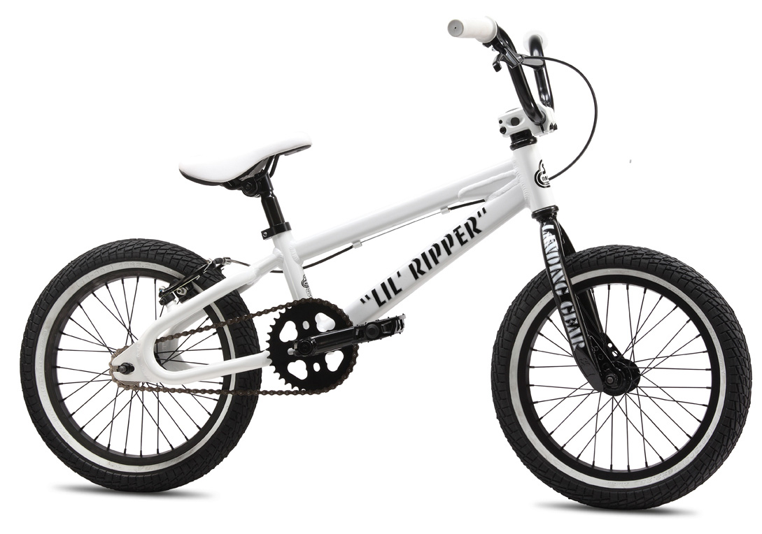 "BMX SE styling abounds on the aluminum 2013 LiL' Ripper in a clean, white colorway. It features a floval tubing mainframe, looptail rear end, Landing Gear forks, and 3-pc cranks.Key Features of the SE Lil Ripper BMX Bike: Frame:6061 Aluminum Floval Tubing, Euro Bottom Bracket, Looptail Rear End Fork:LiL' Landing Gear Crankset:SE 3-pc Cr-Mo, 140mm Euro-Sealed Bearing, 36T Bubble Sprocket Pedals:FPD Alloy Platform, Cr-Mo Axle Chain:KMC Z410A Wheelset:SE Racing Alloy 32H Hubs w/ Alex C1000 rims, 16T Freewheel Tires:Kenda K-Rad 16 x 2.125"" F & R Brakes:Promax Mini V-Brake Brake Lever:Tektro Mini 2-Finger Alloy Headset:Tange 1-1/8"" Threadless Handlebar:SE Wing Bar, 21"" x 5.5"" Stem:SE Racing Front-Load Alloy w/ Weight-Saving Cutouts Grips:Mini Grip Seat:SE Slim Seat w/ Custom Cover Seat Post:SE Straight Post, 27.2mm Extras:Race Plate Weight, lbs/kg:19.80 lbs / 8.98kgs Top Tube, Actual 16.5"" Seat Tube, Center To Top 7.7"" Seat Tube Angle 70 degree Head Tube Angle 72 degree Chainstay 11.9"" Wheelbase 30.6"" Bottom Bracket Height 9.8"" Seat Post Diameter 27.2mm Standover 18.9"" Rider Size Under 5' (Under 152cm) - $259.95"