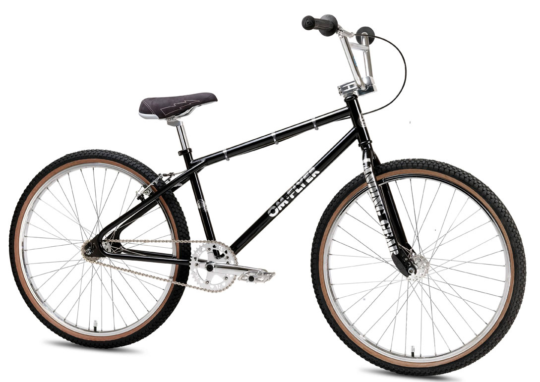 "BMX Key Features of the SE Om Flyer BMX Bike Black 26In: Color(s) Chrome, Black Frame 100% Cr-Mo Tubing, Looptail Rear End, Retro Dropouts Fork 100% Cr-Mo Landing Gear Crankset SE 3-pc Cr-Mo, 180mm, Sealed Bearing American BB, 39T Alloy SE Bubble Sprocket Pedals X-Pedo Low Profile Platform w/ Removable Pins Chain KMC Z33 Wheelset Sealed Bearing 36H High Flange Alloy Bubble Mohawk Hubs w/ Alex DM-24 Double Wall Rims, 17T Freewheel Tires Kenda K-Rad 26 x 1.95"" F & R Brakes Tektro M530 V-Brake, Slick Cable Brake levers Tektro 316A, 2-Finger Alloy Headset Tange ER, 1-1/8"" Threadless Handlebar Cr-Mo Power Wing Cruiser Bar, 28 x 7"" Stem Retro Alloy Top Load w/ Engraved SE Logo & Lightweight Cut-Outs Grips A'ME Cam Seat SE Flyer Seat Seat post Retro Fluted Micro-Adjust, Aluminum 25.4 Extras Alloy Valve Caps Weight 29lbs / 13.18kgs TOP TUBE LENGTH 22.2"" SEAT TUBE, CENTER TO TOP 15"" CHAINSTAY 16.8"" HEAD TUBE ANGLE 71° SEAT TUBE ANGLE 73° WHEELBASE 41.5"" SEAT POST DIAMETER 25.4mm RIDER SIZE 5'3""+ (160cm+) - $538.95"
