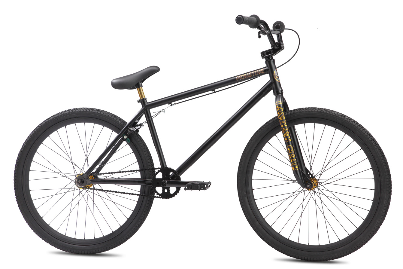 "BMX Key Features of the SE Primetime BMX Bike: COLOR(S):Matte Black FRAME:100% Cr-Mo, Integrated Head Tube, Integrated Seat Clamp, Mid BB, Removable Cable Guides, Removable Brake Mounts, 14mm Dropouts, Cut-Out Seat Tube FORK:100% Cr-Mo Landing Gear, Butted Legs, 3/8"" Dropouts, Accepts Pegs CRANKSET:3-pc Cr-Mo, 170mm, Closed End Invisibolt, Mid Sealed Bearing, 33T Alloy Bubble Sprocket PEDALS:SE Plastic Composite CHAIN:KMC Z410A WHEELSET:SE Alloy 36H 3/8"" F & 14mm R Sealed Bearing Fixed/Free Hub with Double-Wall Rims, 13T Freewheel and 13T Fixed Cog TIRES:Kenda Kranium 26 x 2.10"" F & R BRAKES:Tektro FX340R U-Brake, Soft Compound Shoes BRAKE LEVERS:Tektro 319AC HEADSET:Tange 1 1/8"" Integrated Headset HANDLEBAR:Cr-Mo SE Bar, 28"" x 4"" STEM:SE Top Load Alloy, Lightweight External Cutouts, Hidden Top Cap TAPE/GRIP:Big Daddy Jackhammer Grip w/ Rubber SE End Plugs SEAT:Lightweight SE Seat/Post Combo w/ Padding SEAT POST:Integrated Alloy 25.4 EXTRAS:N/A WEIGHT, LBS/KG:28.90lbs / 13.10kgs Size 38.5cm Top Tube, Actual 23.2"" Head Tube 5.5"" Seat Tube Angle 73° Head Tube Angle 75° Chainstay 15"" Wheelbase 39.9"" Bottom Bracket Height 12.7"" Seat Post Diameter 25.4 Standover 29.6"" Stem 50mm Handlebar Width 28"" Crank 170 - $489.00"