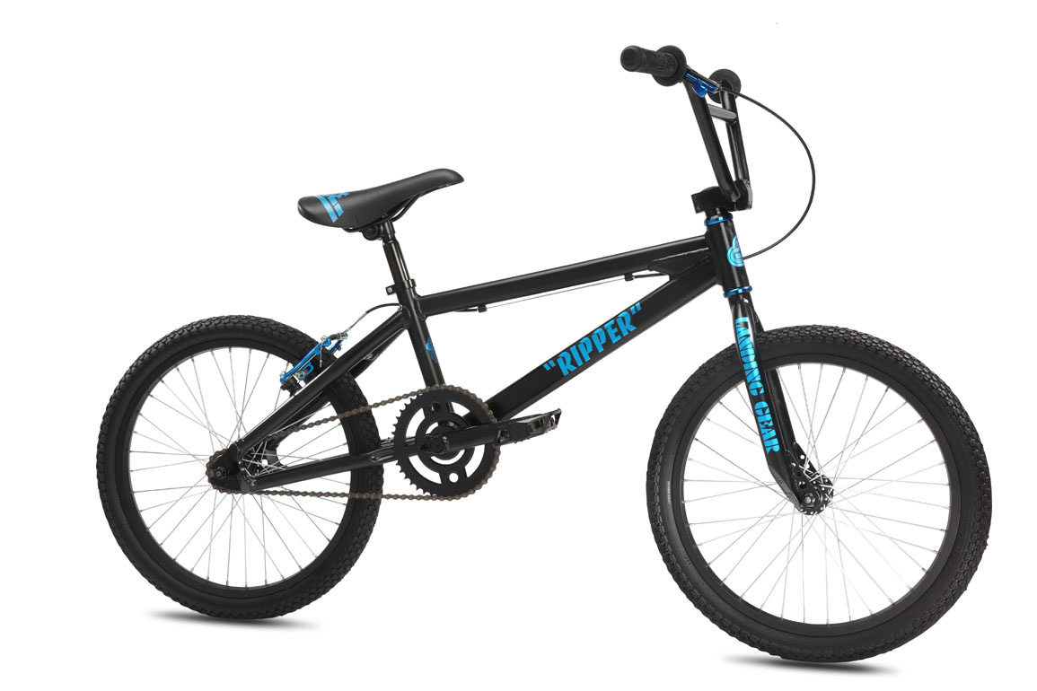 "BMX The Ripper comes in at a mid-level price point but with a high level of ""cool,"" given its aluminum PK Ripper-style frame with floval tubing. It comes equipped with single-wall rims and loose-ball cranks, headset, & hubs, which keep the price down on one of our best-selling BMX bikes.Key Features of the SE Ripper BMX Bike 20"": Frame:6061 Aluminum Floval Tubing Fork:Landing Gear Crankset:SE 3-pc Cr-Mo, 170mm, Euro Sealed Bearing, 43T Pedals:FPD Alloy Platform, Cr-Mo Axle Chain:KMC Z410 Wheelset:SE Racing Alloy 36H Hubs w/ Alex C1000 Rims, 16T Freewheel Tires:Kenda K-Rad, 1.95"" F, 1.75"" R Brakes:Rush V-Brake Brake levers:Rush 2-Finger Alloy Headset:Tange 1-1/8"" Threadless Handlebar:SE Wing Bar, 27.25"" x 7.5"" Stem:SE Racing Front Load Alloy Grips:SE Racing Wing Grip w/ SE Rubber End Plugs Seat:SE Racing w/ Custom Imprinted Cover Seat post:SE Racing Straight Post, 27.2mm Extras:Race Plate Weight:23.30lbs / 10.59kgs - $286.95"
