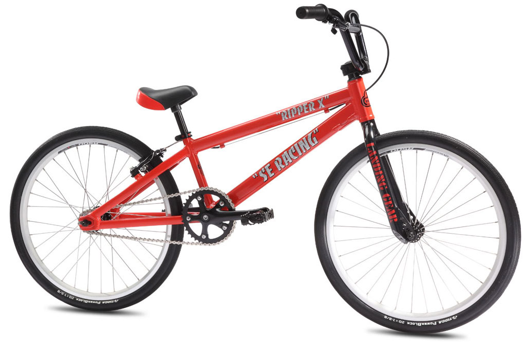 "BMX Like all bikes in the Elite Race Series, the Ripper X is race-ready right out of the box. Aimed at 11 to 12-year-old riders, the Ripper X has a lightweight aluminum frame, aluminum forks (yes, aluminum Landing Gear! , aluminum bars, & aluminum cranks. It also features high-end, race-ready 1-3/8"" Tioga Powerblock tires.Key Features of the SE Ripper X BMX Bike:  Frame:Lightweight 6066 Aluminum Floval Tubing, Internally Machined Integrated Head Tube, Rectangular Seat & Chainstays, 3D Forged Dropouts  Fork:Alloy Landing Gear, Cr-Mo Steerer Tube  Crankset:3-pc Alloy, 165mm, Euro Sealed Bearing Alloy Cups, 38T Alloy Chainring  Pedals:Wellgo Alloy Caged, Cr-Mo Axle  Chain:KMC Z33  Wheelset:Sealed Bearing Hollow Axle Alloy Hubs w/ Alex R500 Double Wall, 32H Rims, 15T Cassette  Tires:Tioga Power Block 20 x 1-3/8"" F & R  Brakes:Tektro 926AL Mini V-Brake, Slick Cable  Brake levers:Tektro 317A, 2-Finger Alloy  Headset:Tange Sealed 1"" Integrated Headset  Handlebar:Alloy SE Wing Bar, 24.5 x 6""  Stem:SE Front Load Alloy, Lightweight External Cutouts, 2pc Cap  Grips:Expert Grip  Seat:SE Racing Mini w/ Integrated Alloy Post  Seat post:Integrated Aluminum, 22.2mm  Extras:Race Plate, Touch-up Paint  Weight:16.40lbs / 7.45kgs  TOP TUBE LENGTH 19.5""     SEAT TUBE, CENTER TO TOP 9.1""     CHAINSTAY 13.8""     HEAD TUBE ANGLE 73 degree     SEAT TUBE ANGLE 70 degree     WHEELBASE 35""     SEAT POST DIAMETER 22.2mm - $343.95"