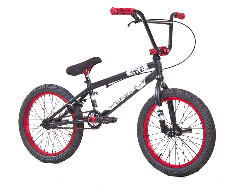 "BMX Key Features of the Subrosa Salvador BMX Bike Black/Red 18"": FRAME: 1020 hi-tensile steel - 18"" TT / 75 degree HT / 71 degree ST / 13.25"" CS / 73"" standover height FORK: 1020 hi-tensile steel - 30mm offset, tapered legs, integrated bearing race BARS: 1020 hi-tensile steel - 7.5"" rise / 10 degree backsweep / 3 degree upsweep / 26"" wide GRIPS: Shadow Finger Banger (flangeless) BAR ENDS: Shadow Nylon Push In HEADSET: Sealed integrated headset STEM: Custom Forged Subrosa Hold On alloy front load RIMS: Rant alloy 36H FRONT HUB: Alloy, 3/8"" axle REAR HUB: Semi sealed alloy 14mm axle cassette TIRES: 18"" x 2.2"" street rear CRANKS: Rant 4130 seamless chromoly tubular 3pc. 8 spline, 175mm, with sealed mid BB SPROCKET: Subrosa Shield steel GEARING: 25-9 CHAIN: Taya 410 PEDALS: Shadow Ravager Plastic BRAKES: Rant Alloy U-brakes w/ straight cable and Rant alloy lever SEAT: Shadow Solus Mid 1pc Seat / Post combo SEAT CLAMP: Slim style alloy PEGS: Rant steel x 2 WEIGHT: 23.2 lbs - $414.99"