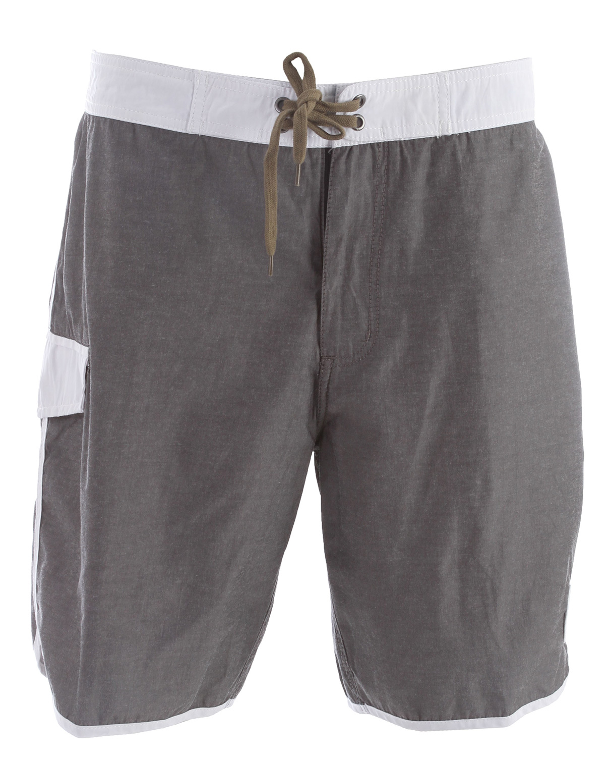 "Surf Key Features of the Analog Hammer Boardshorts: Eco Poly Cotton 19"" Zip fly scallop leg board short in faded solids with contrast piping, side pocket, and waistband Cotton draw cord with anti-rash lycra at front fly and rise Signature selvedge denim loop and patch detail 53% Cotton / 47% Eco Poly - $56.00"