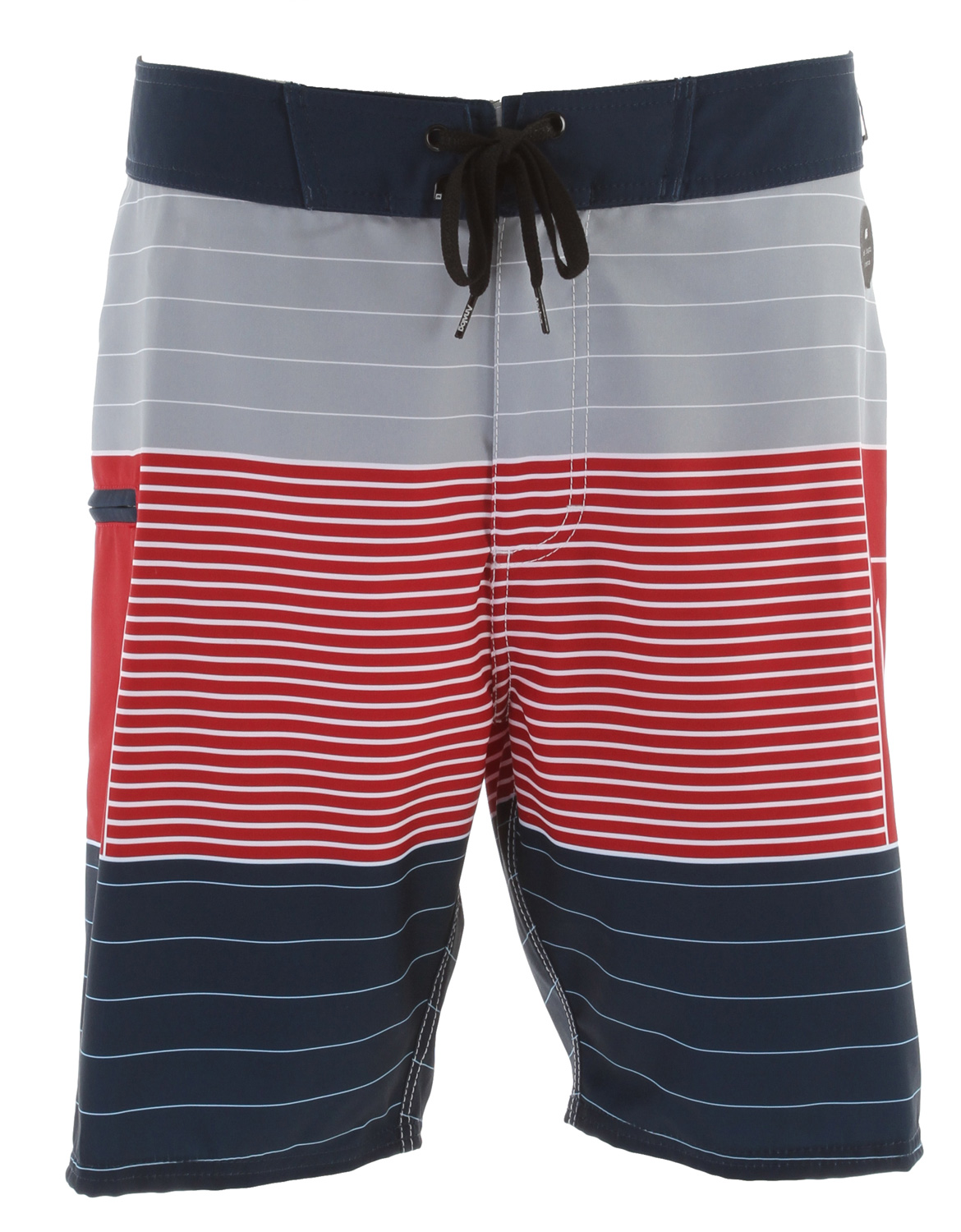 "Surf Key Features of the Analog Locked Up 20"" Boardshorts: 20"" zip fly board short with engineered horizontal logo stripe and contrast waistband and side pocket Anti-slip draw cord with anti-rash lycra at front fly and rise Signature selvedge denim belt loop and branding detail 100% Polyster 2 way stretch. - $58.00"