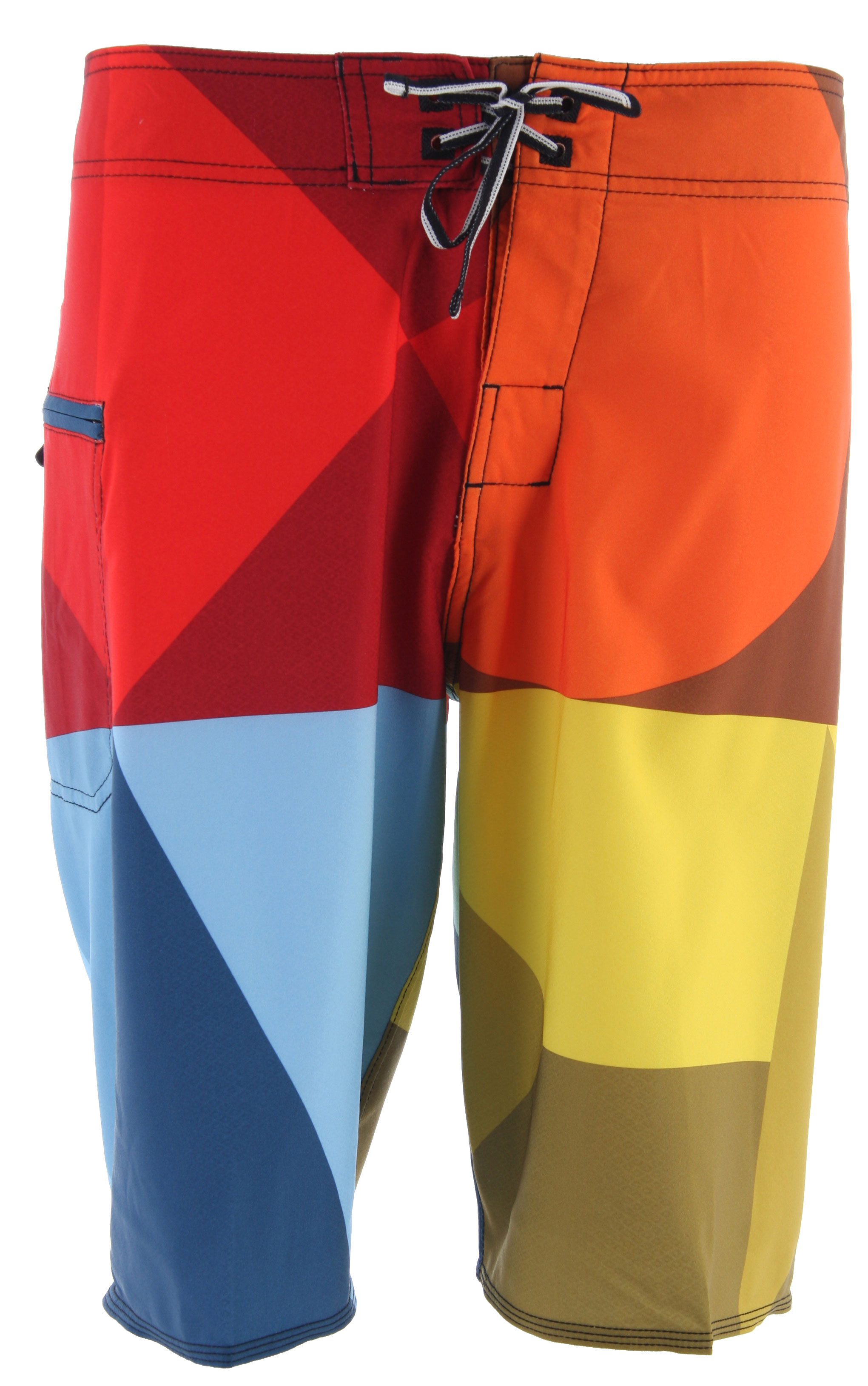 "Surf Key Features of the DC Maritime Boardshorts: Engineered Geometric Print Zip Pocket Neo Fly Embroidered Eyelets Lycra Lined Bottom Hems And Front Side Seamless Side Panels Customized Trim 21"" Outsteam - $39.95"