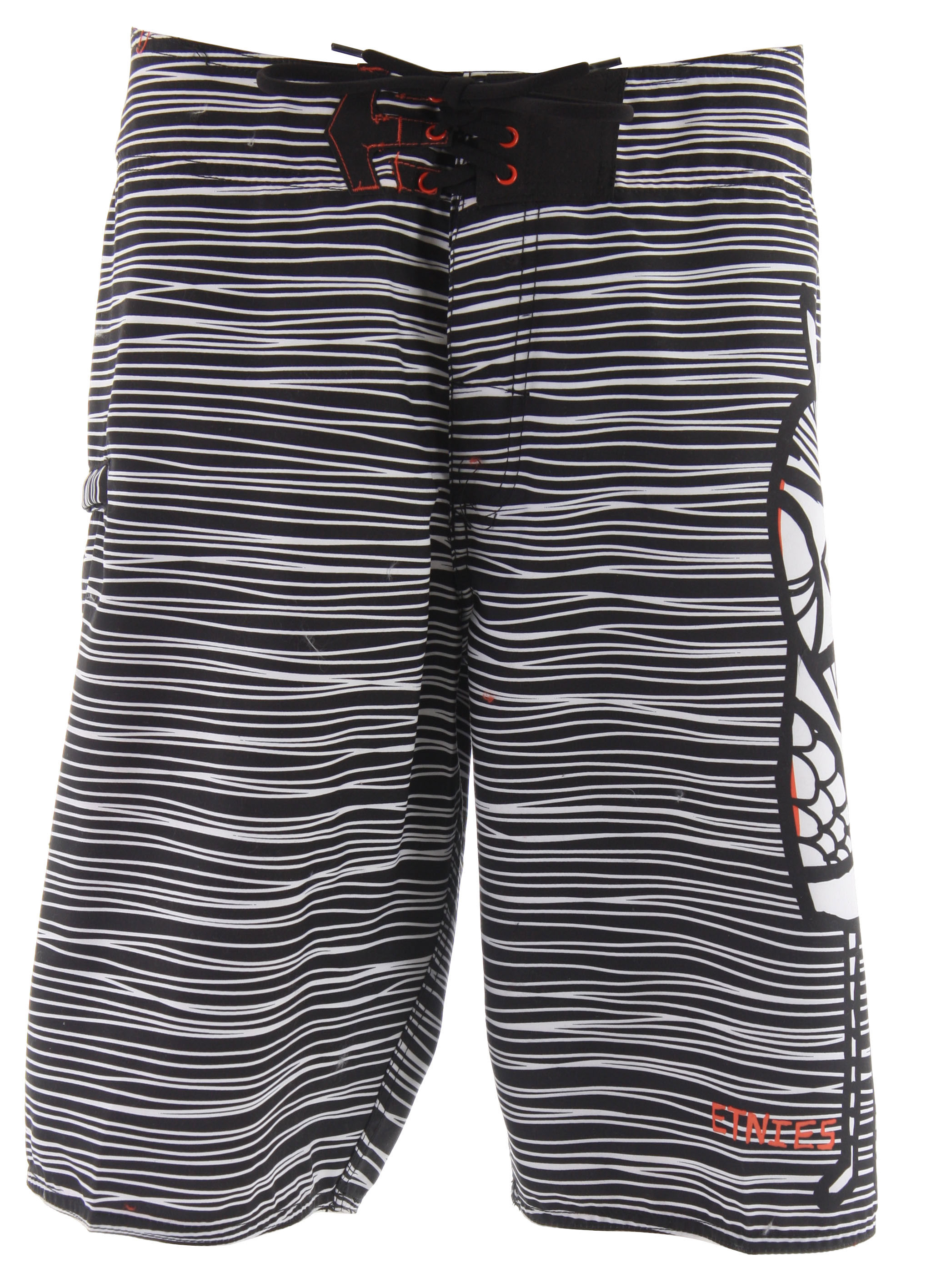 Skateboard Key Features of the Etnies Amigo Boardshorts: 100% polyester Dynasuede board short Assorted pattern prints etnies Icon tab feature at waistband Zip welt pocket on right leg Hollywood waistband Art on back colorway by Don Pendleton - $39.95