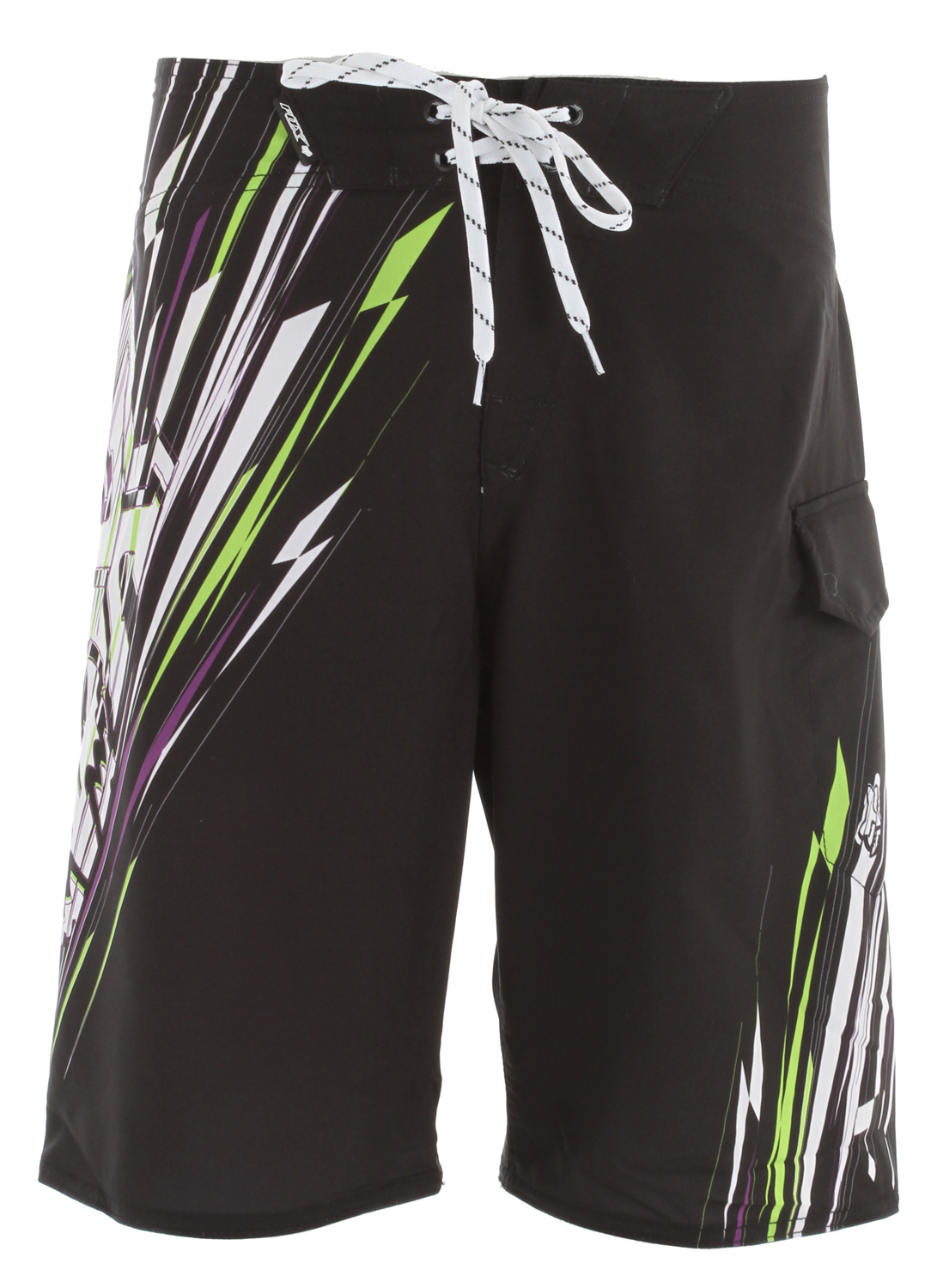 "Surf Key Features of the Fox Showdown Boardshorts: 100% polyester mesh stretch All over sublimated graphics Side pocket Velcro fly 22 1/2"" outseam - $34.95"