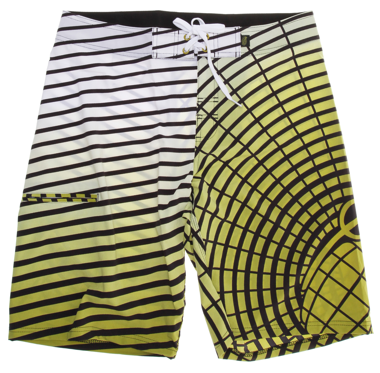 Surf The Grenade Explosive Boardshorts are perfect for active fun at the beach, pool, or wherever! The polyester/spandex blend fabric is both durable and comfortable, with a drawstring waist and loosely fitted trunks for hot weather. These shorts also feature a small side pocket that is just the right size for stashing cards or keys. You can be confident that the Explosive Boardshorts will thrive in the rough and tumble of horsing around at the pool or surfing at the beach.Key Features of the Grenade Explosive Boardshorts: 83% polyester/17% spandex Drawstring fit 4 way stretch - $32.85