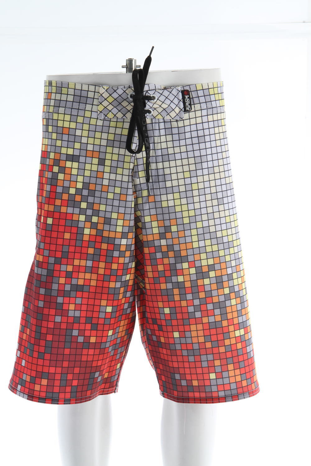 "Surf Key Features of the Liquid Force Pixel Boardshorts: Quick Drying 4-way Liquid Stretch 21"" Outseam Velcro Tab with Lycra Fly Quick Drying Coating No Slip Print string tie - $45.95"