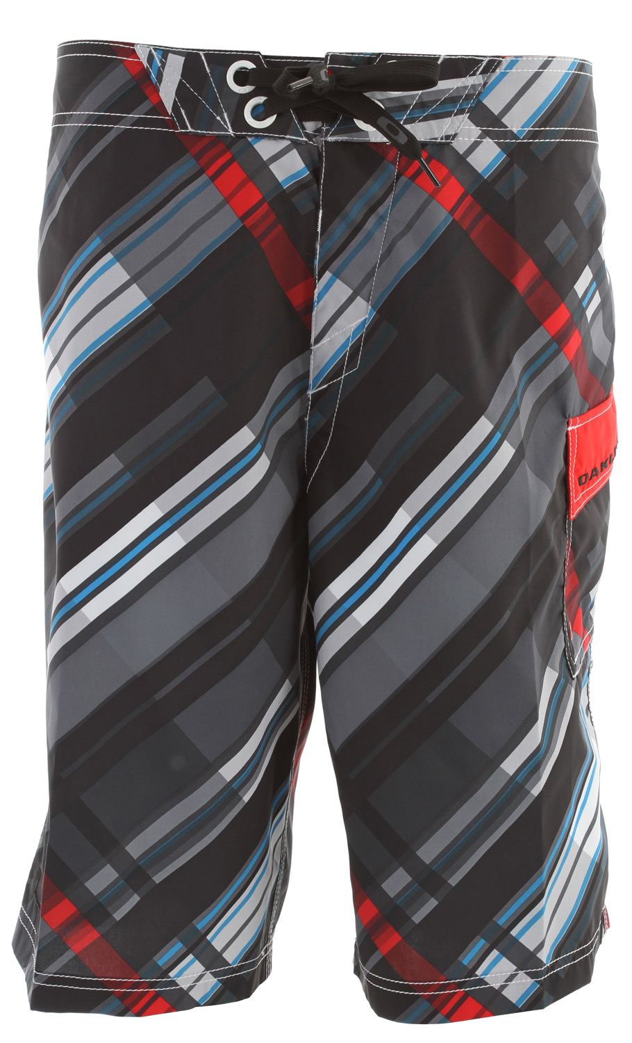 "Surf 2 way stretch boardshort with all over sublimated print, screenprint logos, new stretch fly, hook and loop side pocket and drawstring closure system.Key Features of the Oakley Floor It Boardshorts: 100% polyester 22"" Outseam - $55.00"