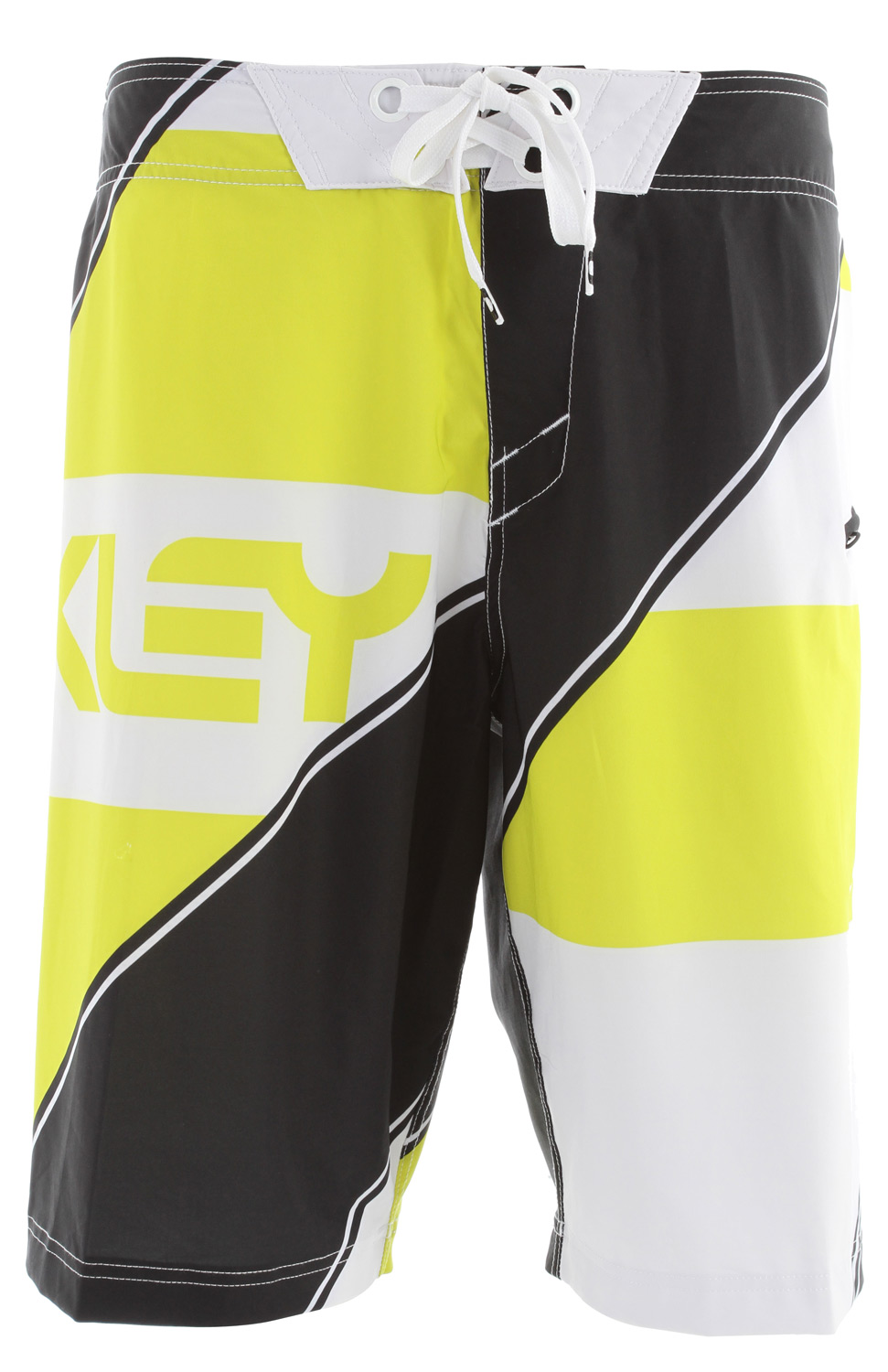 "Surf O Stretch boardshort with engineered sublimated print, zipper fly, side pocket and drawstring closure system.Key Features of the Oakley Intense Boardshorts: 91% polyester, 9% spandex 21"" outseam - $65.00"
