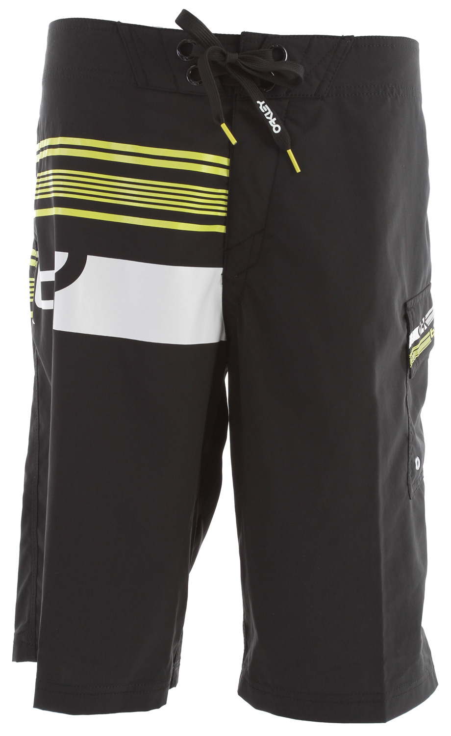 "Surf 2 way stretch boardshort with screenprint art/logos, new stretch fly, hook and loop side pocket and drawstring closure system.Key Features of the Oakley Joy Ride Boardshorts: 100% polyester 22"" Outseam - $50.00"