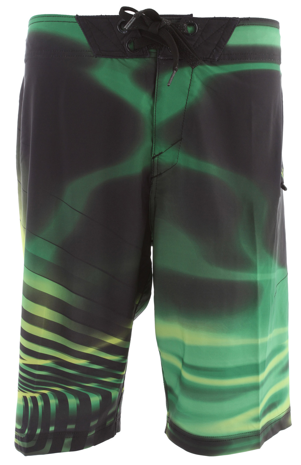 "Surf O Stretch boardshort with engineered sublimated print, zipper fly, side pocket and drawstring closure system.Key Features of the Oakley Radioactive Boardshorts: 91% polyester, 9% spandex 21"" outseam - $45.95"