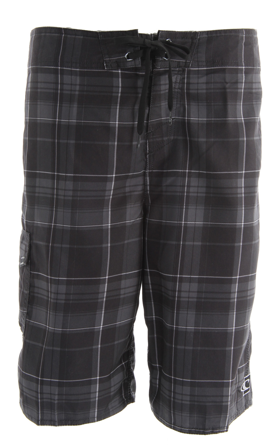 "Surf Key Features of the O'Neill Santa Cruz Plaid 2 Boardshorts: Light ultrasuede 22"" outseam All-over printed plaid boardshort Comfort fly closure Embroidered and screened logos - $32.00"