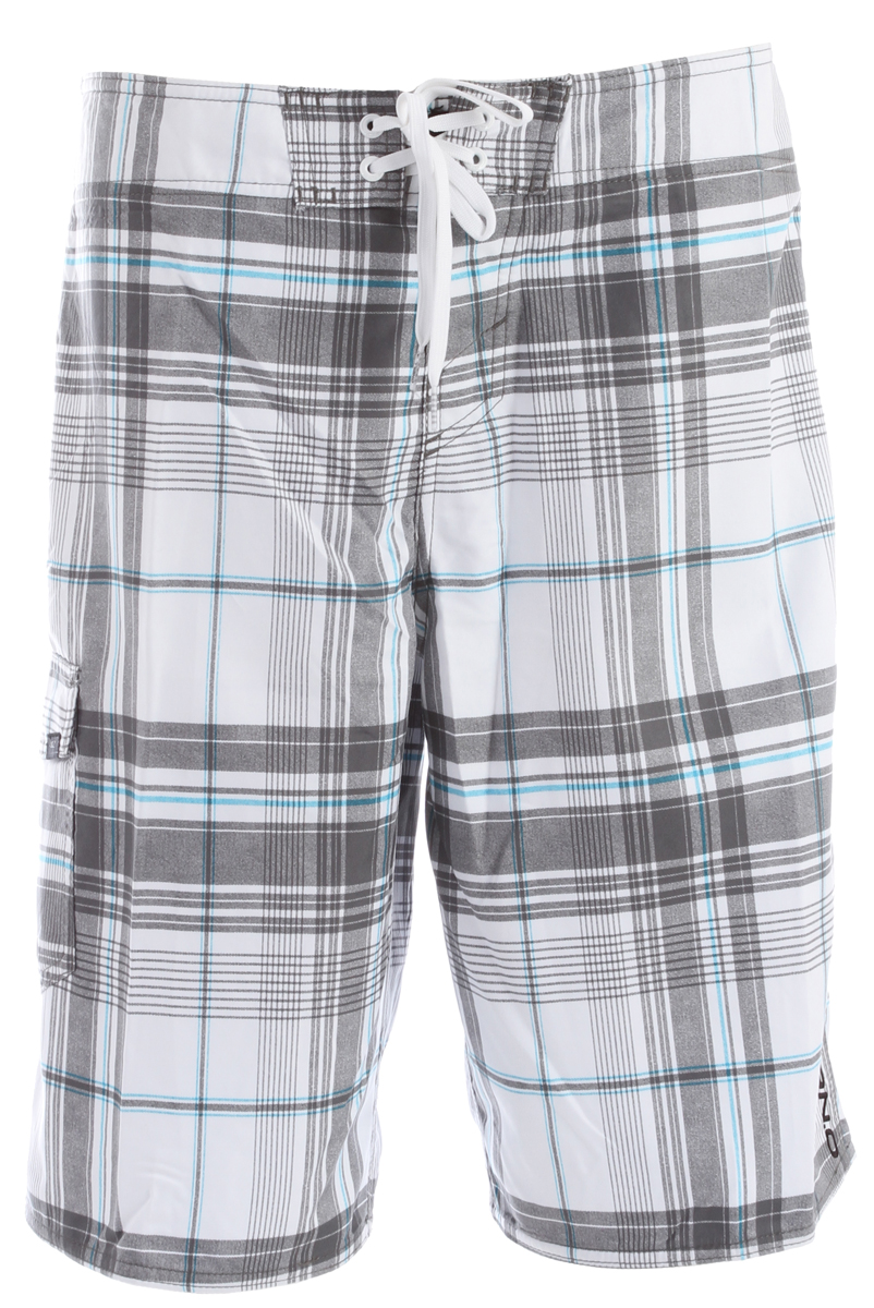 "Surf Key Features of the O'Neill Santa Cruz Plaid Boardshorts: Ultrasuede 22"" Outseam Boardshorts Comfy Fly closure Side cargo pocket Embroidered and screened logos - $32.00"