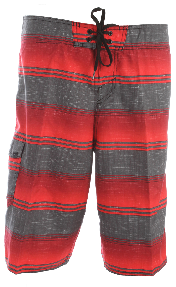 "Surf Key Features of the O'Neill Santa Cruz Stripe Boardshorts: Ultrasuede 22"" Outseam Boardshorts Comfy Fly closure Side cargo pocket Embroidered and screened logos - $32.00"