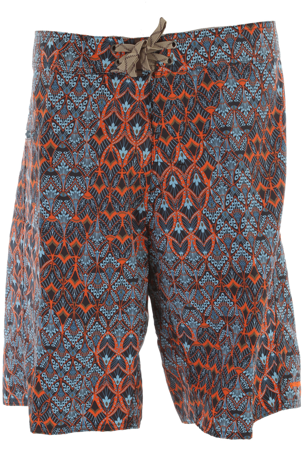 "Surf Tried and true, live-in-them board shorts made of Supplex nylon with a DWR (durable water repellent) finish; 21? outseam. fabric: 4.3-oz 100% Supplex nylon with a DWR finishKey Features of the Patagonia Wavefarer Boardshorts: Recyclable, lightweight nylon with a DWR finish is durable, quick-drying Board shorts have a 3-piece, self-lined waistband that contours to the hip, and a flat-lying fly with a single rubber button and ladder-lock drawstring closure Zippered horizontal pocket on the right thigh is self-draining and has a non-corrosive recyclable plastic zipper and an internal key loop Forward inseam at crotch eliminates chafing Hem hits at the knee Regular fit 21"" outseam - $59.00"