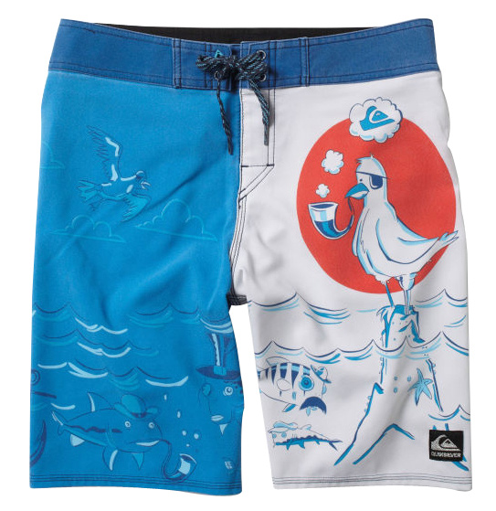"Surf Key Features of the Quiksilver High Seas Boardshorts: 88% polyester, 12% spandex Pigment printed 4 way stretch diamond dobby 20"" outseam Two color drawcord closure with the new Diamond Fly Stretch stitch at hems Lycra at inside front rise Custom labels and embroidery - $45.95"