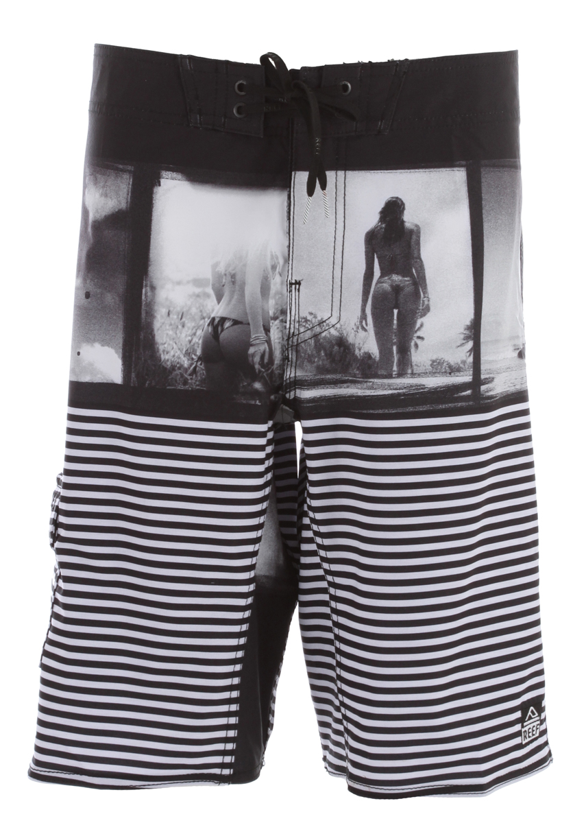 "Surf Key Features of the Reef Miss Acid Boardshorts: Recycled 4 way elite stretch fabric No outseam style 21"" outseam Standard fit Tie front 85/15 recycled polyester/elastane - $51.95"