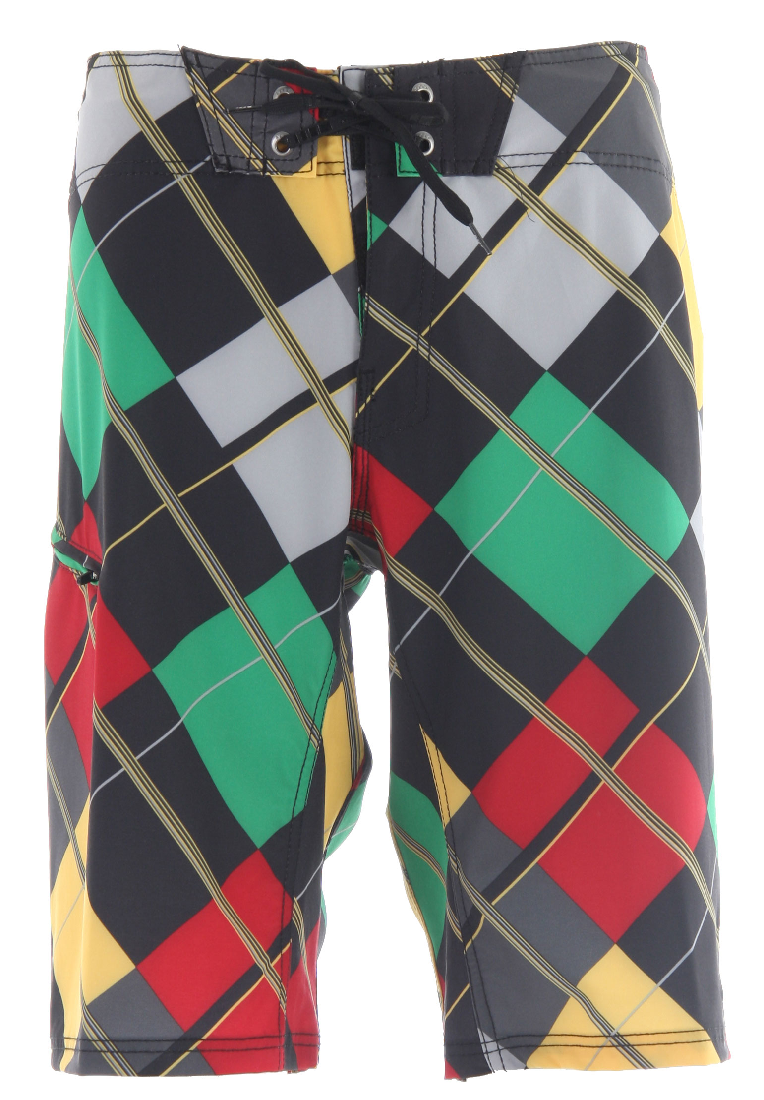 "Surf Key Features of the Reef Unsaturated Boardshorts: 4 way elite stretch febric 85/15 polyester/ spandex All over plaid print Ridiculously comfortable inside waistband detail Laser cut applique on left leg Welt pocket with locking ykk zipper on right leg Custom logo eyelets 22"" outseam - $35.95"