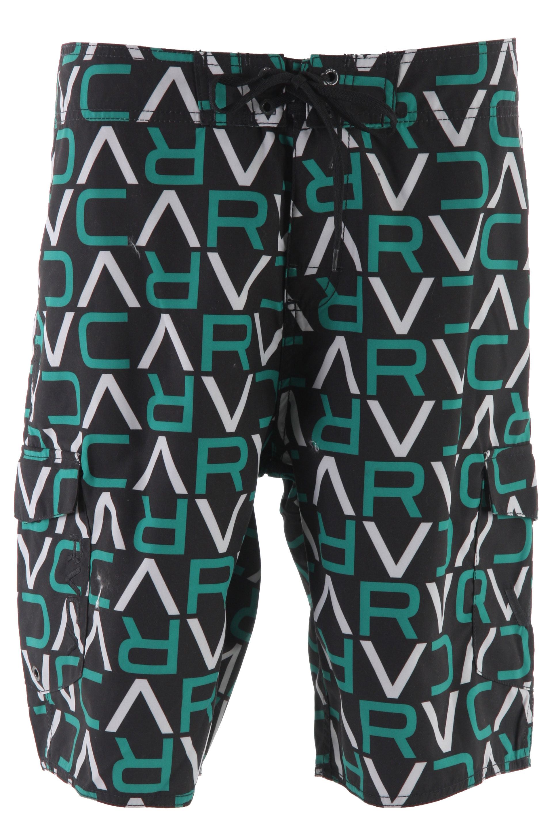 Surf Hit the beach with these ultimate boardshorts. The RVCA VA Strike Boardshorts is made with polyester microfiber, so soft to the touch. With its loose fit and soft material, this is ideal for active wear. Whether it's to the beach or the pool, rock these shorts with comfort and style. With its zipper and drawstring tie closure, be secure all day long. Be sure to include this in your summer wardrobe.Key Features of the RVCA VA Strike Boardshorts: Regular Fit- Polyester Microfiber boardshort Zipper fly and tie front waistband closure Patch pockets at right and left side seam with flap and zipper and VELCRObrand closure Screen Print all over body RVCA embroidery at wearer's left pocket VA embroidery at wearer's right pocket - $35.95