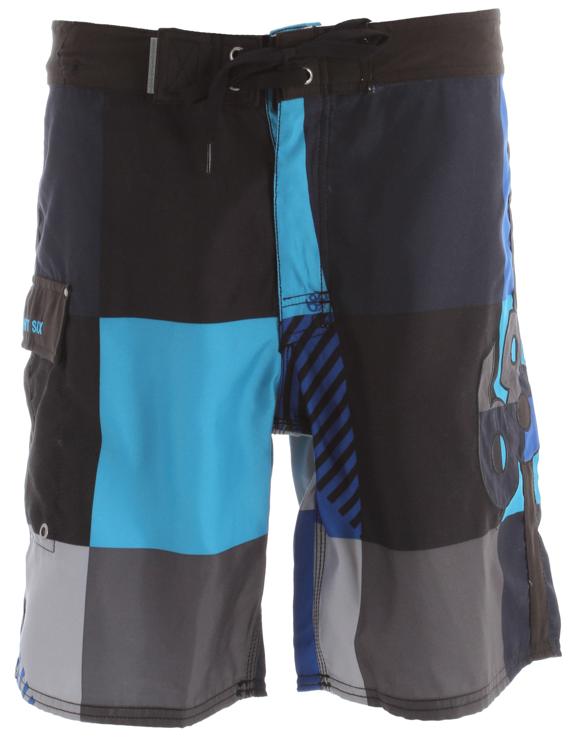 "Surf Key Features of the 686 Cube Boardshorts: 100% polyester micro fiber Spandex fly gusset Waistband stash pocket Angled side leg pocket trimmed with solid black micro fiber Retro style fitting 20"" average outseam - $54.95"