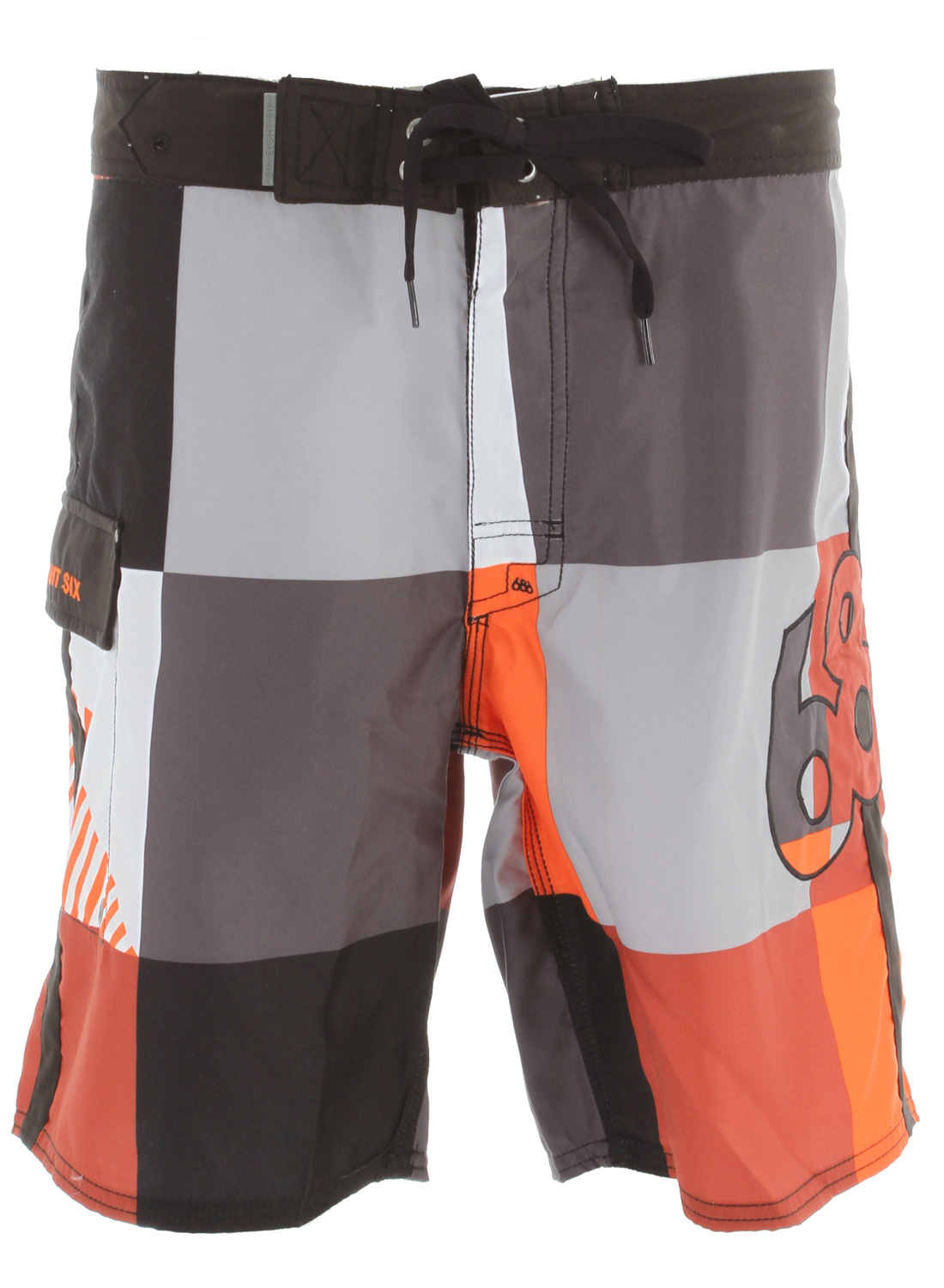 "Surf Key Features of the 686 Cube Boardshorts: 100% polyester micro fiber Spandex fly gusset Waistband stash pocket Angled side leg pocket trimmed with solid black micro fiber Retro style fitting 20"" average outseam - $37.95"