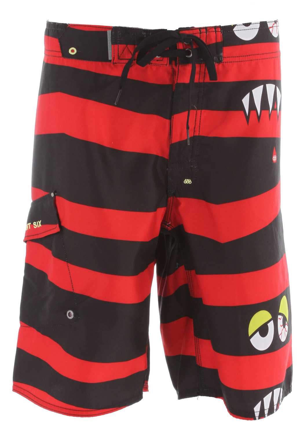 "Surf Key Features of the 686 Snaggle-Stripe Boardshorts: 100% polyester micro fiber Spandex fly gusset Waistband stash pocket Angled side leg pocket 22"" average outseam - $37.95"