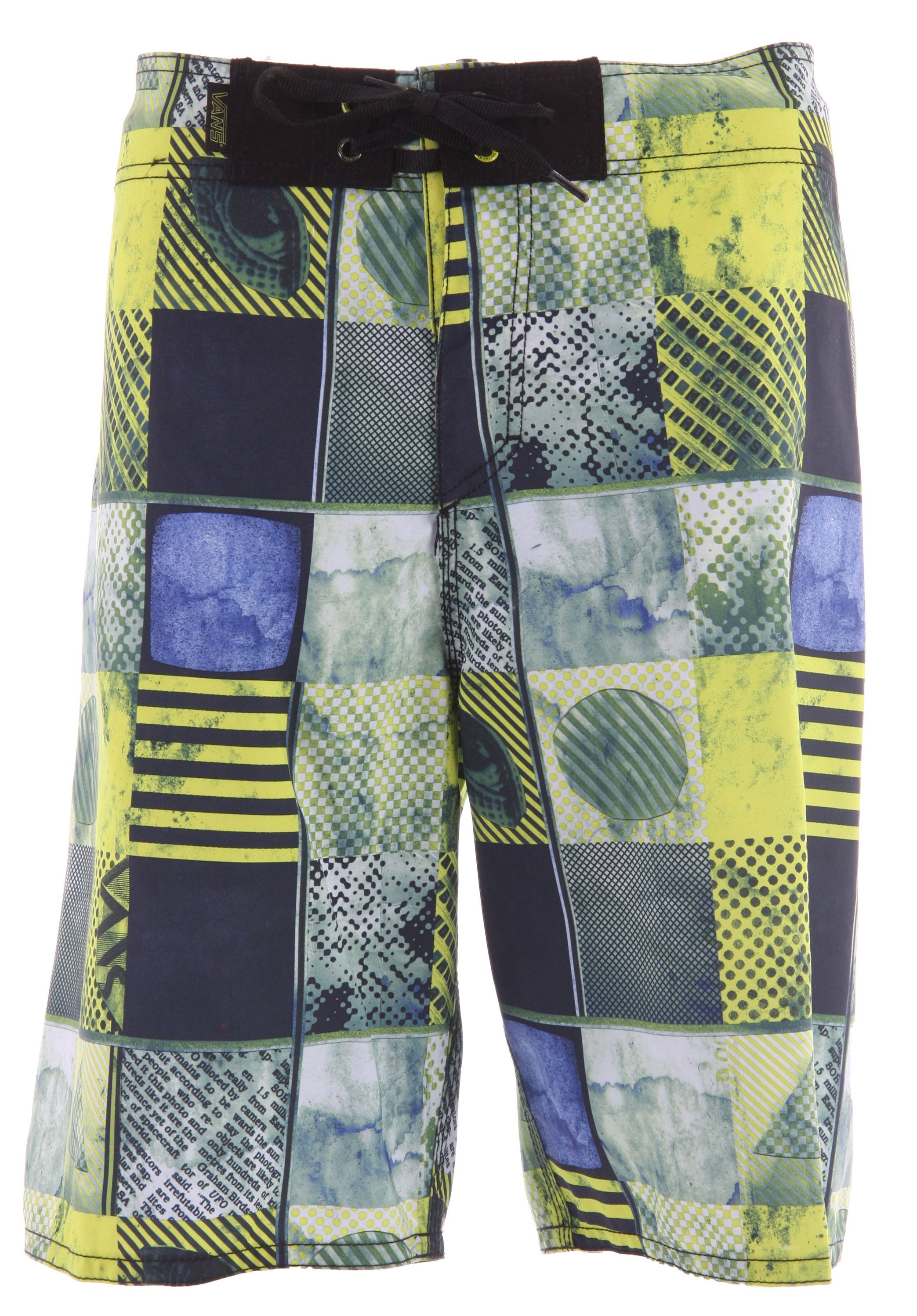 Surf The Off The Wall Boardshorts' complex photo montage and checkerboard look is only an intro to their surfing and swimming appeal. Performance features include a V-fly and drawstring closure, a Velcro closure back pocket, a handy key loop, a roomy 22-inch cut, and quick-drying 100% polyester construction. - $20.96