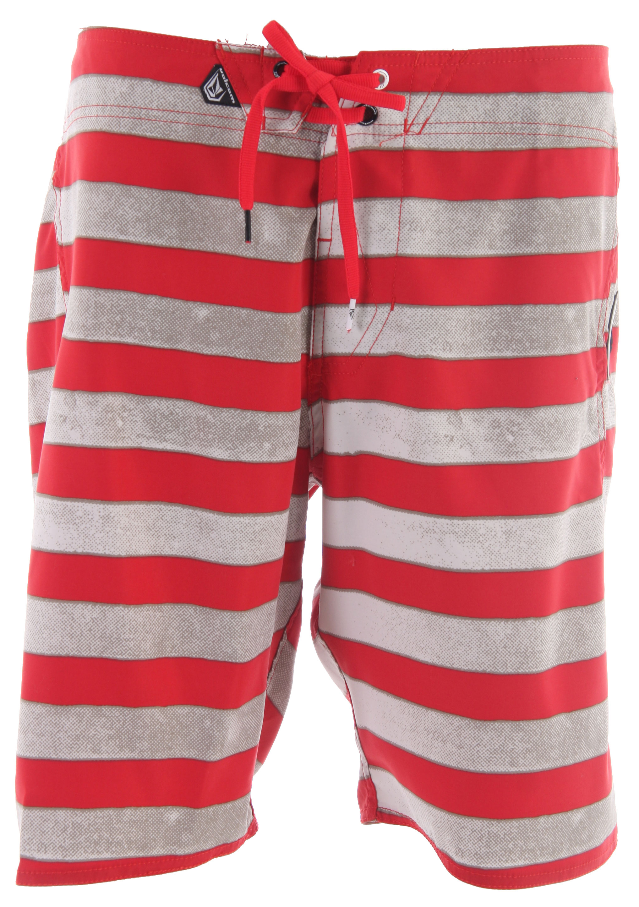 "Surf Key Features of the Volcom Maguro Stripe Boardshorts: 20"" Outseam Boardshort 2 Way Stretch Back Flap Pocket Stripe print Rubber stone Embroidered Eyelet on Pocket Cinch Fly Technology 100% Polyester 2 Way Mechanical Stretch. - $28.95"