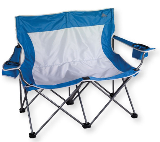 Camp and Hike Cozy up in this comfortable two-seat folding chair. With built-in adjustable beverage holders and a transport sack, this chair is light and easy to tote to the soccer field or the campsite.Key Features of the Kelty Loveseat Camp Chair: PVC-free Adjustable arms Two unique, adjustable beverage holders (holds 12 oz. can or one-liter water bottle) Side mesh pockets Reflective accents Kelty bottle opener included Weight: 14 lb 6 oz / 6.5 kg Weight Capacity: 400 lb / 181 kg Seat Width: 44 in / 99 cm Seat Depth: 20 in / 51 cm Seat Height: 18 in / 46 cm Chair Back Height: 39 in / 99 cm Frame Diameter: 19 mm Frame Material: Steel Body Fabric: 600D polyester mini-ripstop - $89.95