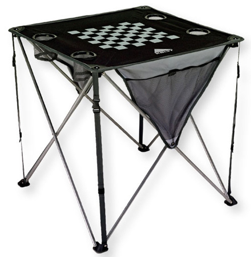 Camp and Hike Kelty's large, easy-folding Soft-Top Table has beverage holders and mesh pockets for drying clean dishes or storing playing cards. This table can be used for a game of chess or checkers on its printed board-game.   PVC-free    Durable steel frame    Printed chess/checker board    Four mesh-bottom beverage holders (hold 12 oz. cans     Side mesh pockets    Reflective accents    Transport sack    Weight: 5.6 lb / 2.5 kg    Weight Capacity: 100 lb / 45 kg    Length: 26.75 in / 70 cm    Width: 26.75 in / 70 cm    Height: 26.75 in / 70 cm    Frame Diameter: 13 mm    Frame Material: Steel    Body Fabric: 600D polyester mini-ripstop - $29.95