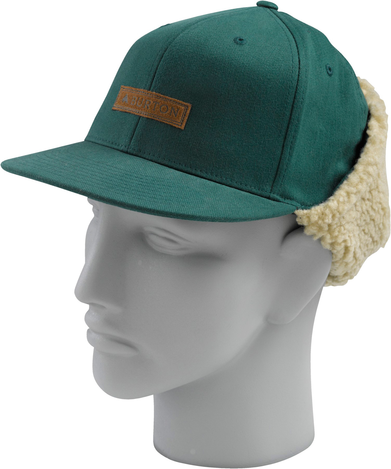 Snowboard Key Features of the Burton I Beam Cap: 60% Cotton 38% Polyester 2% Spandex Fitted with Dog Ears and Sherpa Fleece Faux Leather Patch Flat Visor - $15.95