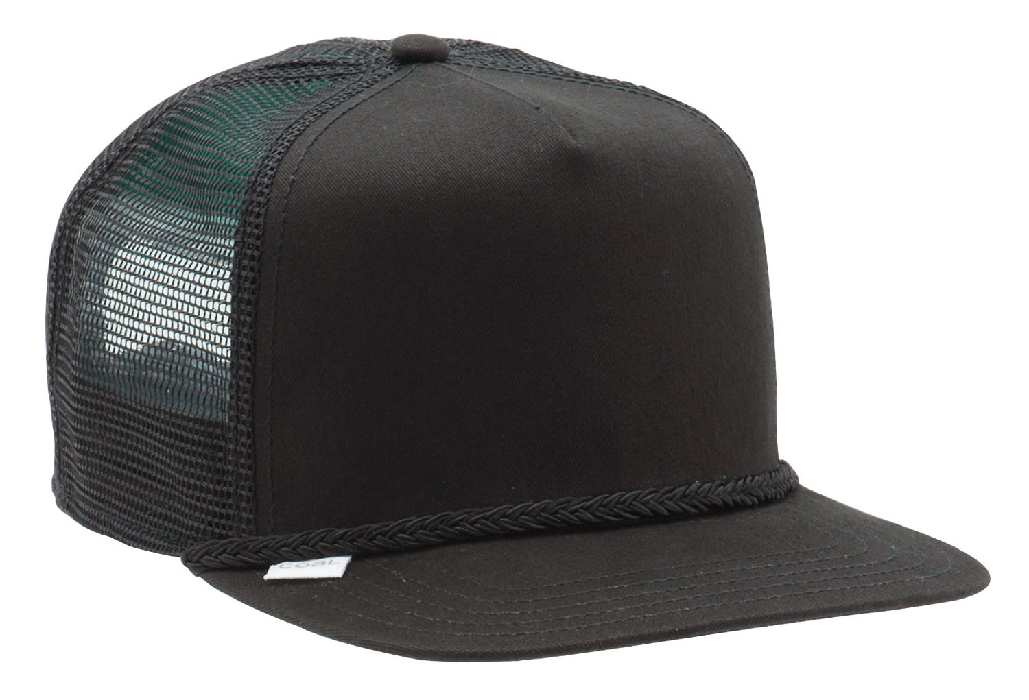 Our original, built from the ground up, snap-back trucker with throwback style and classic fit. Unique cording over brim with inset label and screen-print inside. Cotton and poly mesh. - $20.00