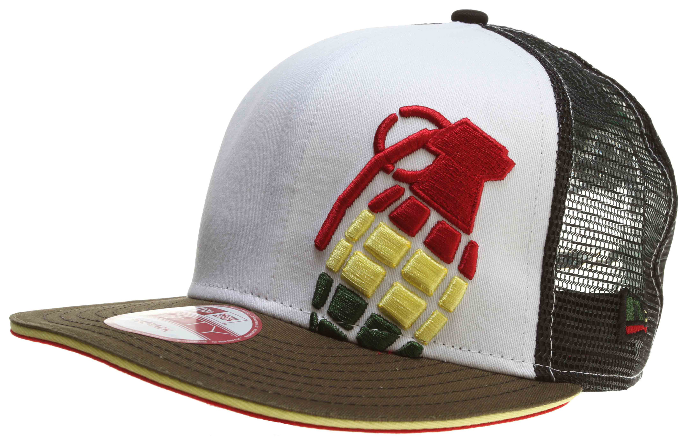 Key Features of the Grenade Halfer Irie Mesh Cap: 100% cotton New Era Mesh Snap Back Embroidered logo - $16.95