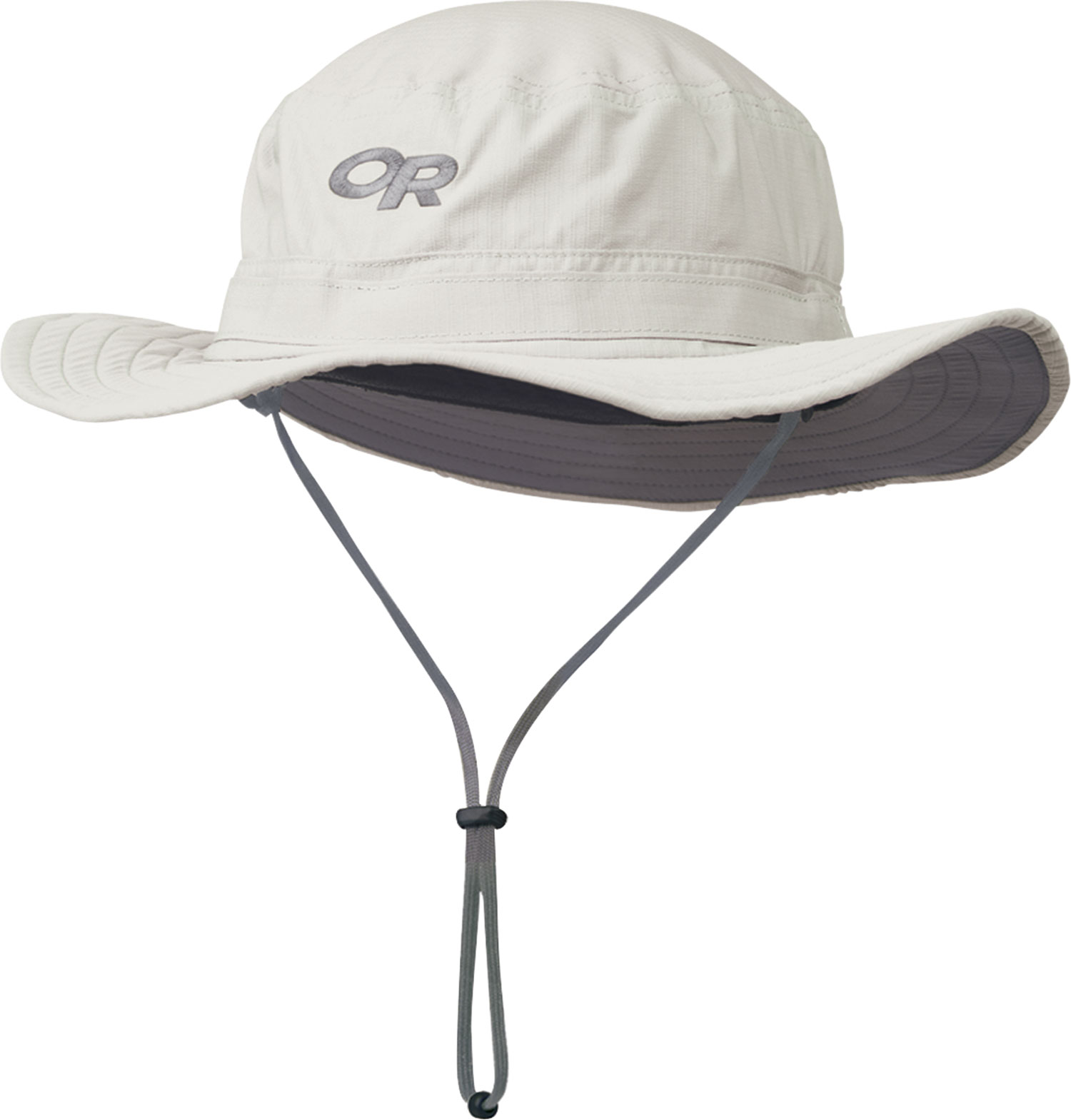 "Key Features of the Outdoor Research Helios Sun Hat: SolarShield construction Ripstop nylon/polyester blend; UPF 50+ Foam-stiffened brim oats TransAction headband External drawcord adjustment Removable chin cord with cordlock Brim: 2 3/4""/ 7cm - $36.00"
